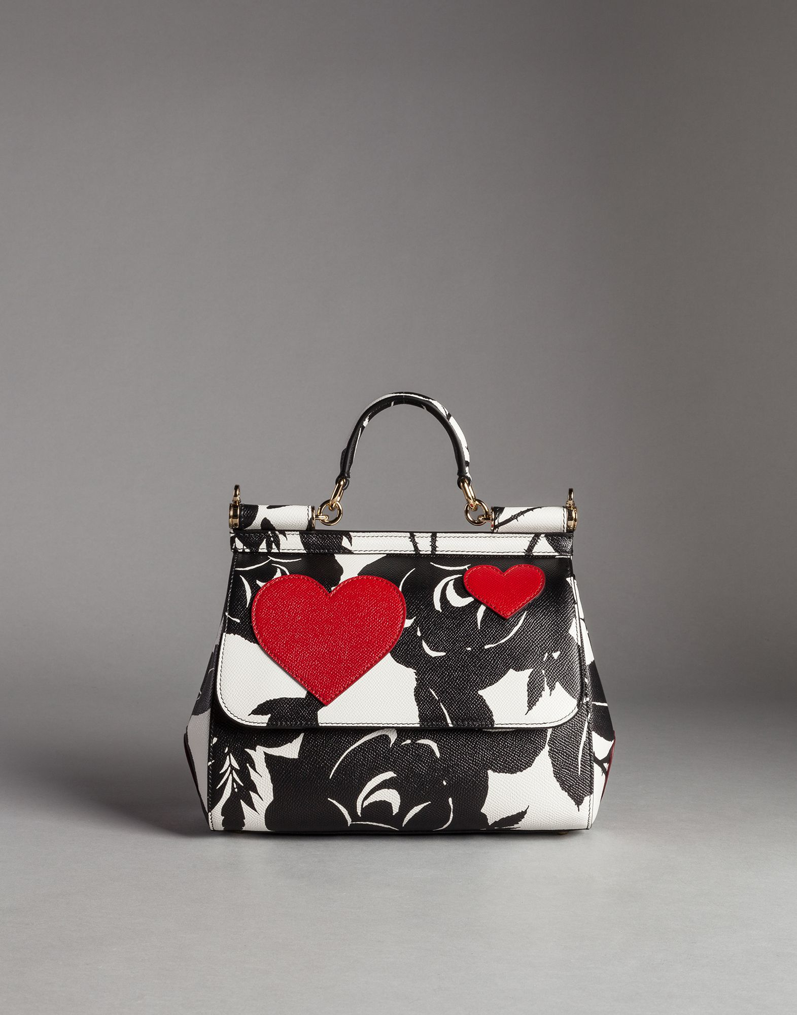 c8919bc02ddc Lyst - Dolce   Gabbana Heart And Flower Print Medium Calfskin Sicily Bag in  Black