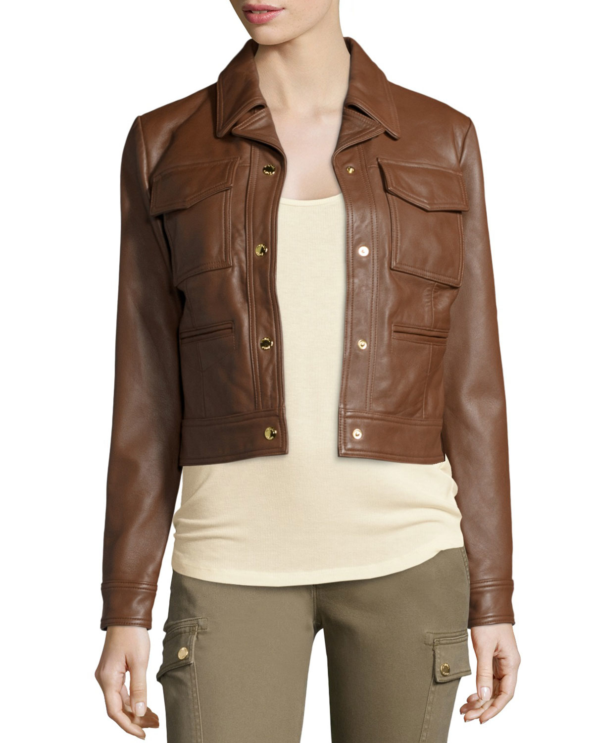 Michael michael kors Cropped Leather Jacket in Brown | Lyst