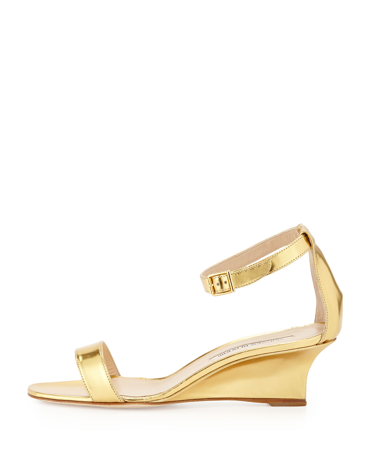 101f6cebd6a6 Lyst - Manolo Blahnik Valere Metallic Demi-wedge Sandal in Metallic