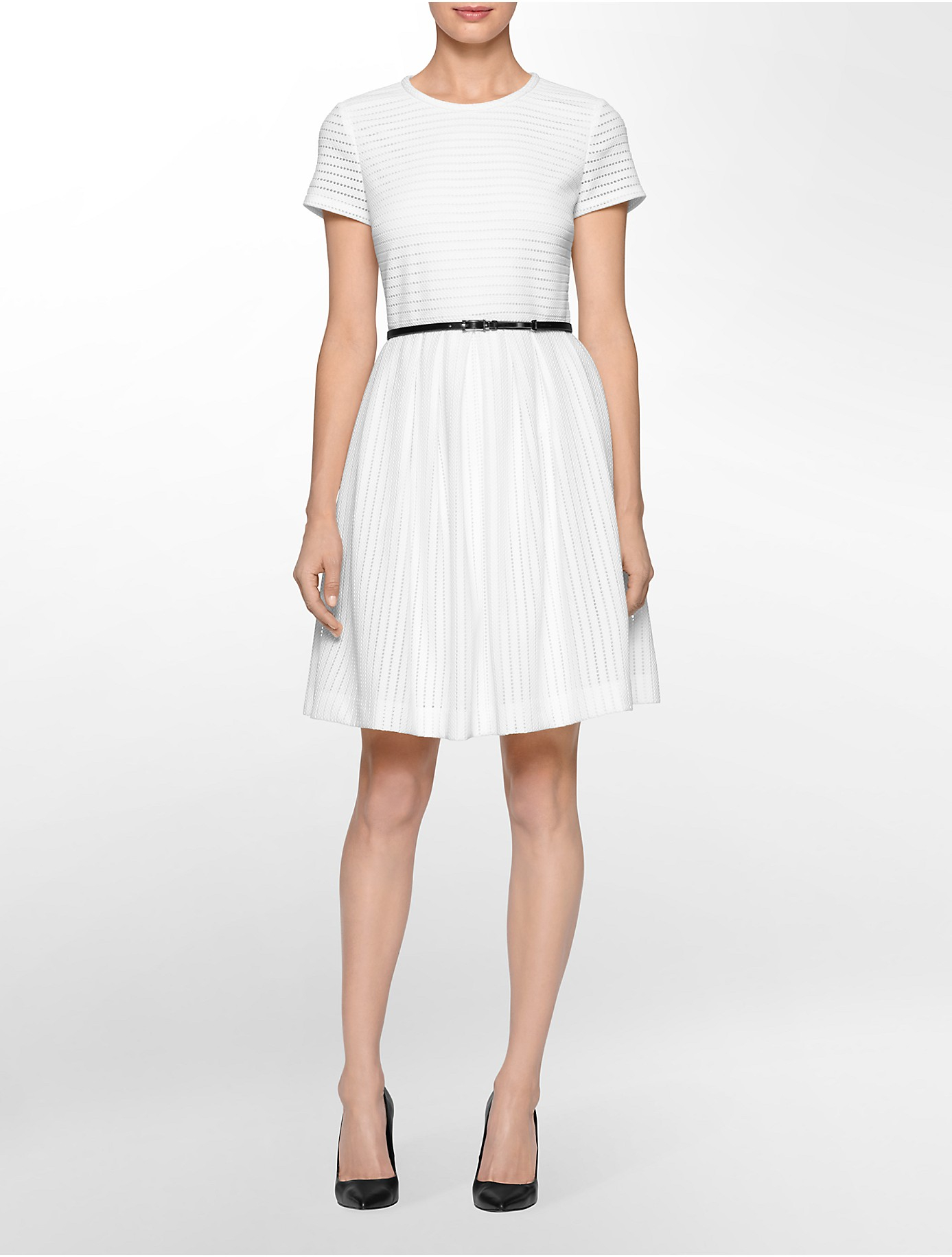 Calvin Klein White Label Perforated Belted Short Sleeve