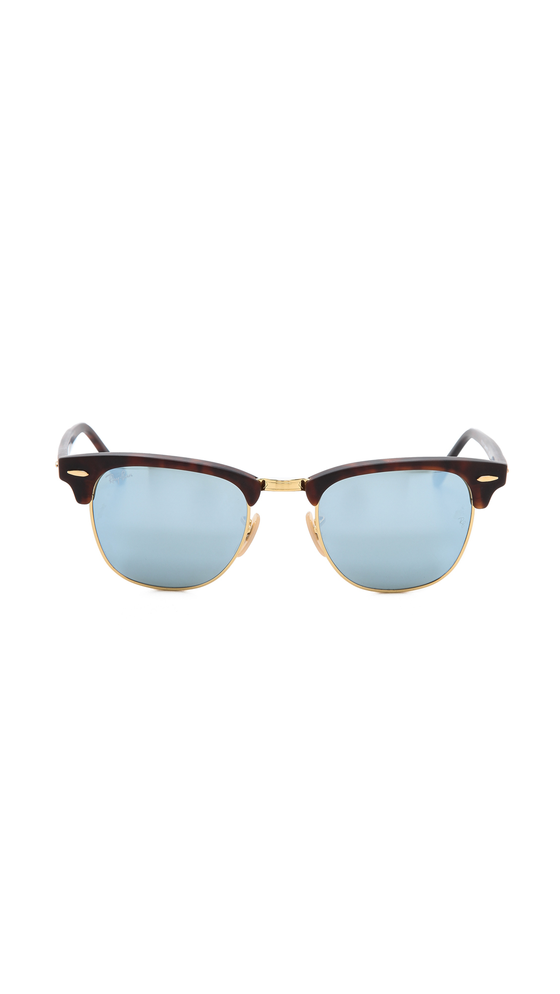 Ray Ban Mirrored Clubmaster Sunglasses Sand Havana Grey