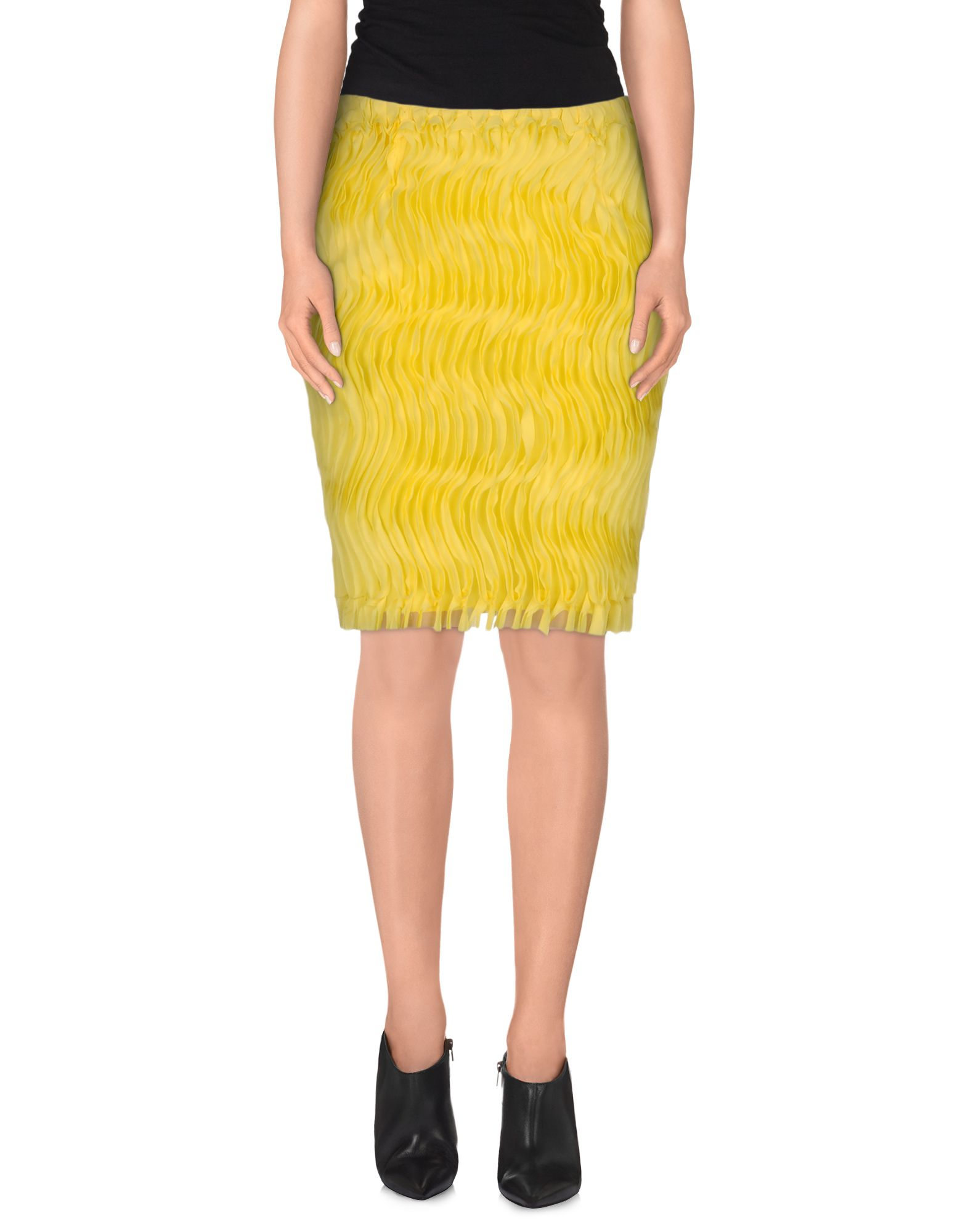 jo no fui knee length skirt in yellow lyst
