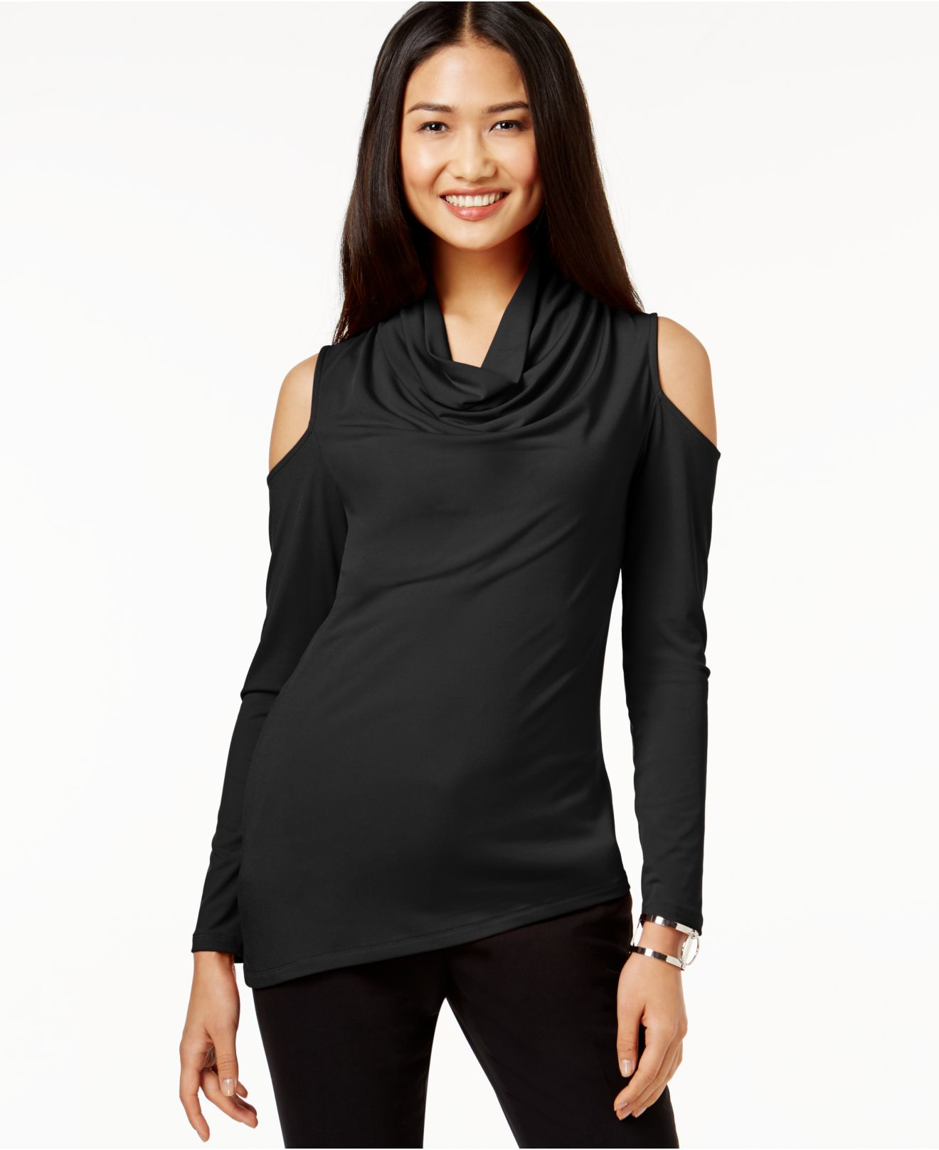 aee1865c32 DKNY Cowl-neck Cold-shoulder Top in Black - Lyst