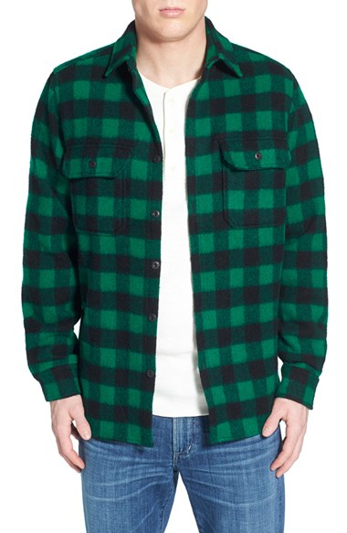 Lyst woolrich buffalo plaid wool blend flannel shirt in for Green and black plaid flannel shirt