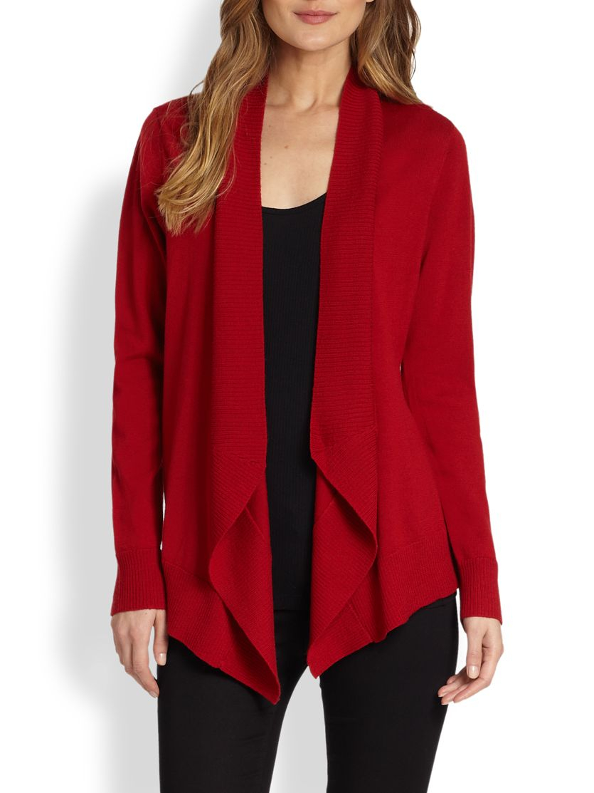Eileen fisher Merino Jersey Angled Open Cardigan in Red | Lyst