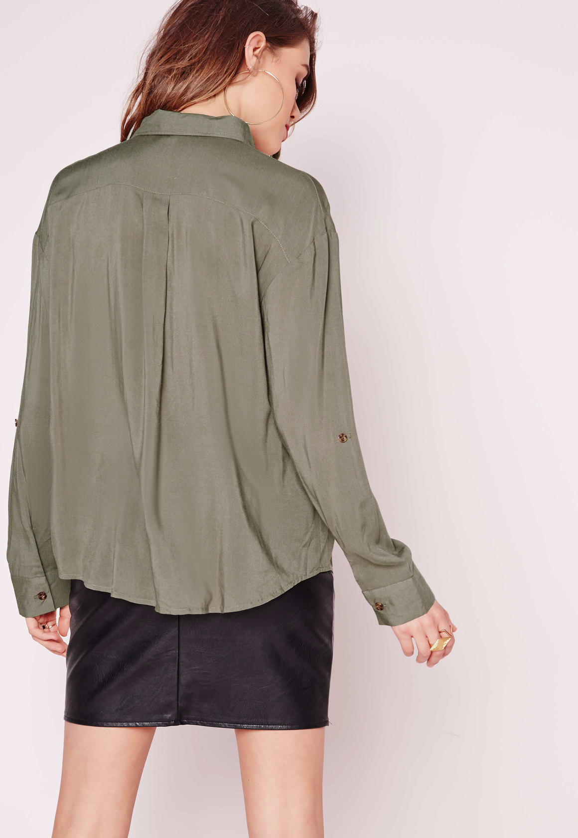 Missguided Pocket Detail Button Up Shirt Khaki In Green Lyst