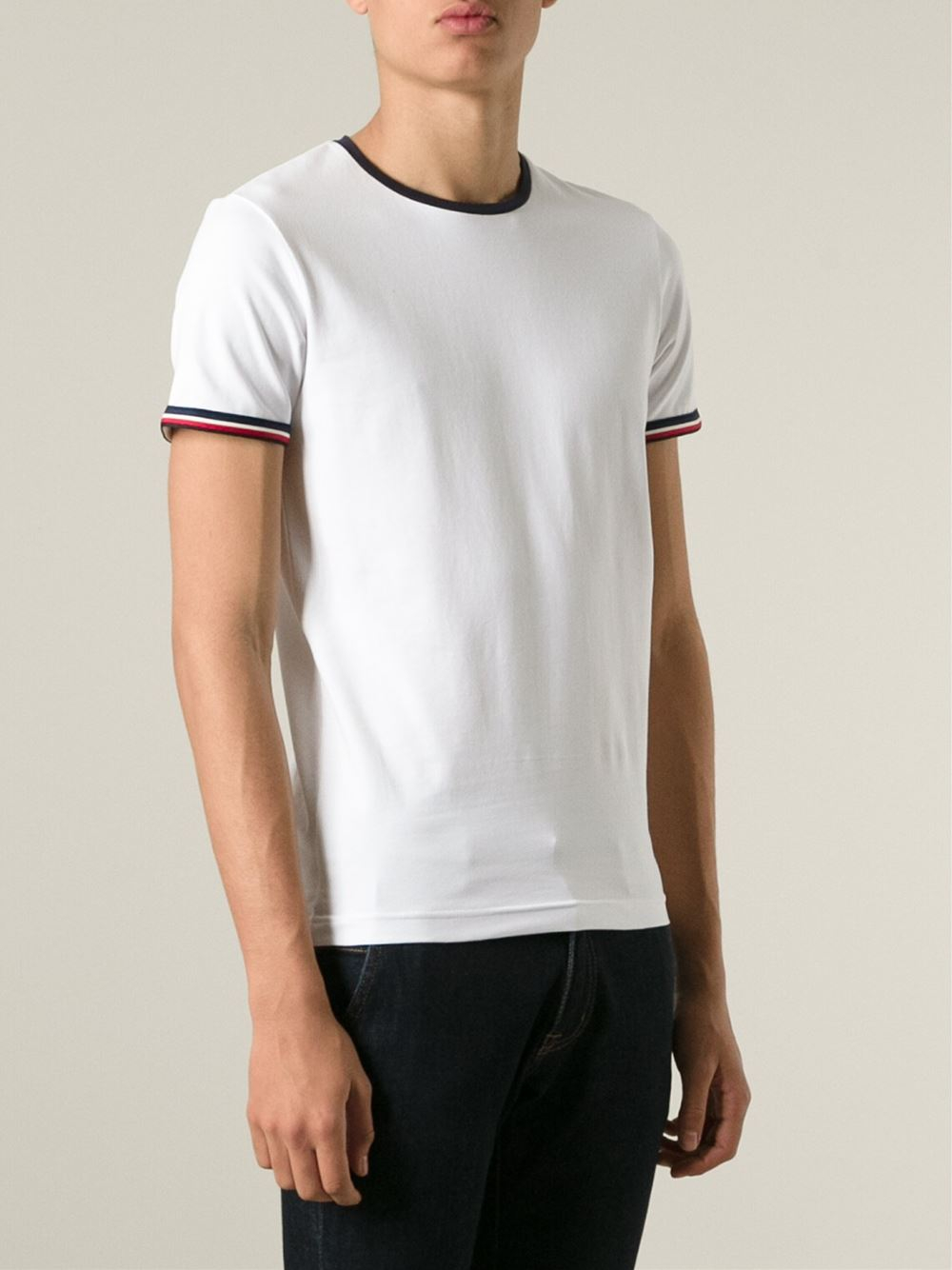 323428cd2 Lyst - Moncler Striped Trim T-Shirt in White for Men