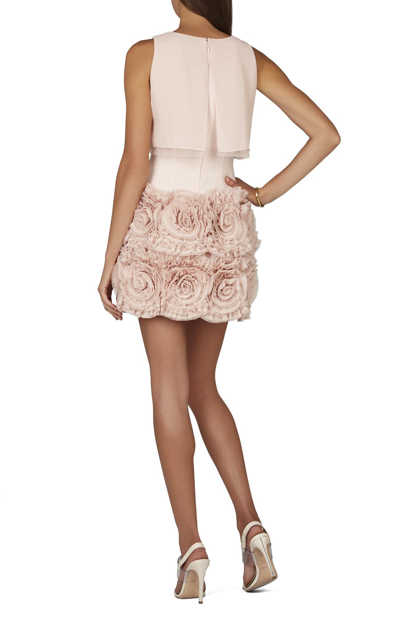 bcbgmaxazria alia sleeveless tiered ruffle skirt dress in