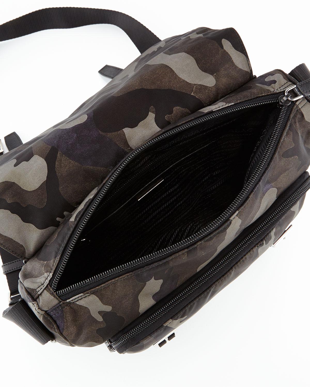 Prada Tessuto Camouflage Messenger Bag in Gray for Men (GRAY MULTI ...