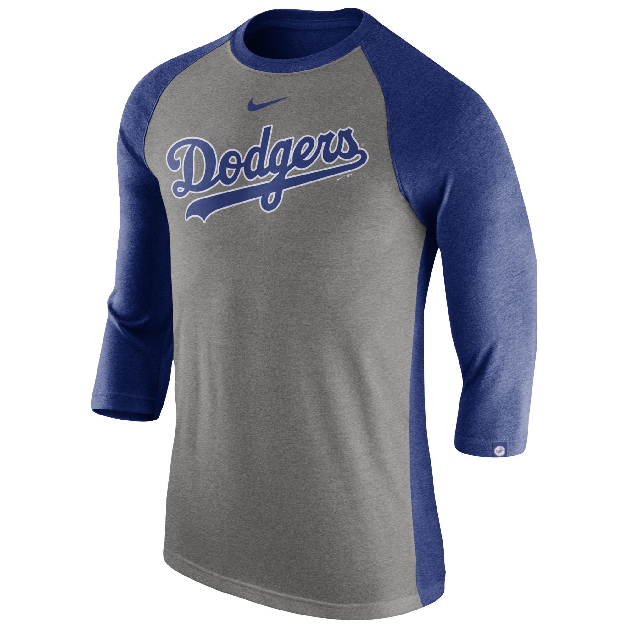 53e4c1762 Nike Los Angeles Dodgers Mlb 3 4 Raglan T-shirt in Blue for Men - Lyst