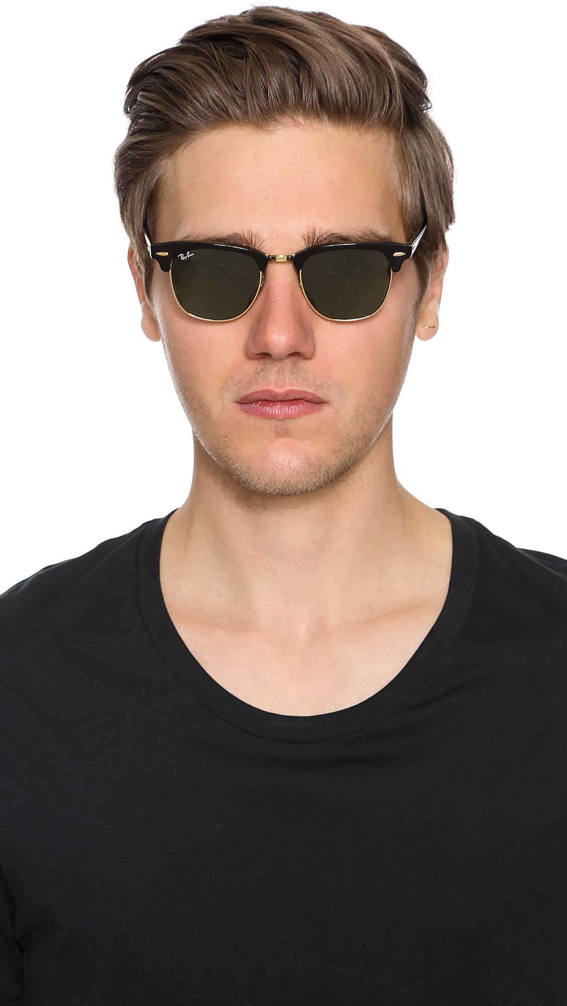 529331e87 ... usa ray ban black clubmaster classic sunglasses for men lyst. view  fullscreen 20612 4814a