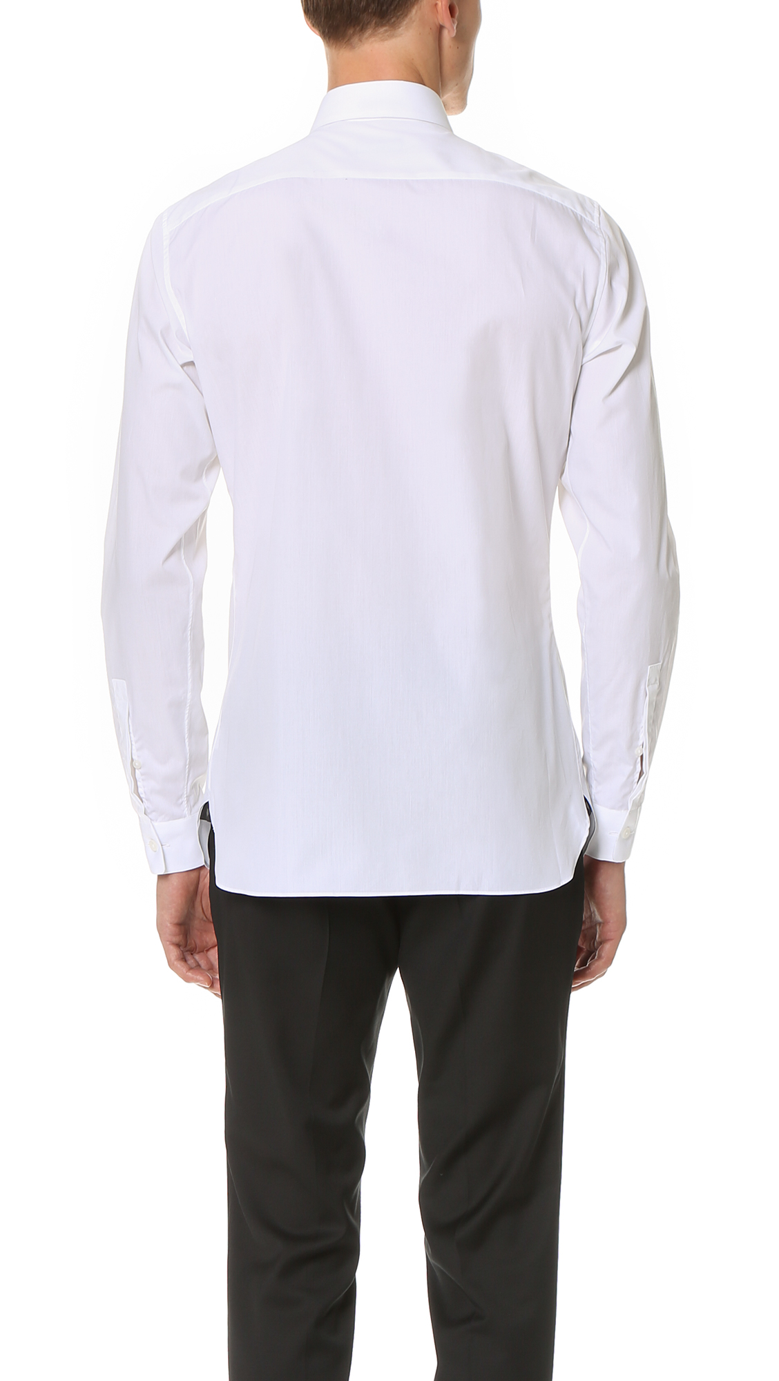 Z Zegna Slim Fit Tuxedo Shirt In White For Men Lyst