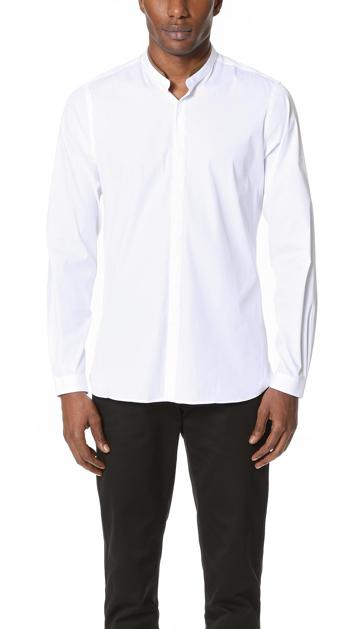 The Kooples Band Collar Dress Shirt In White For Men Lyst