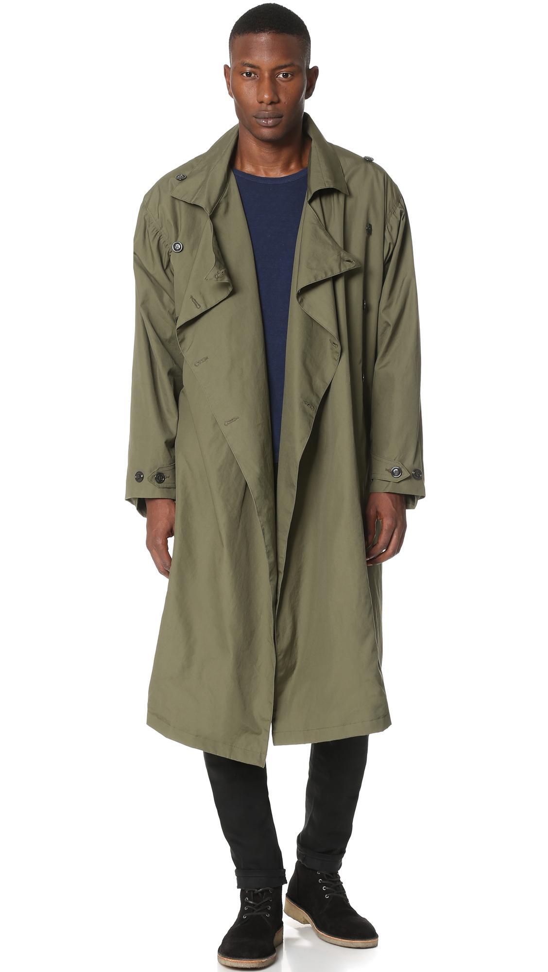Lyst Monitaly Vancloth Lined Long Coat In Blue For Men