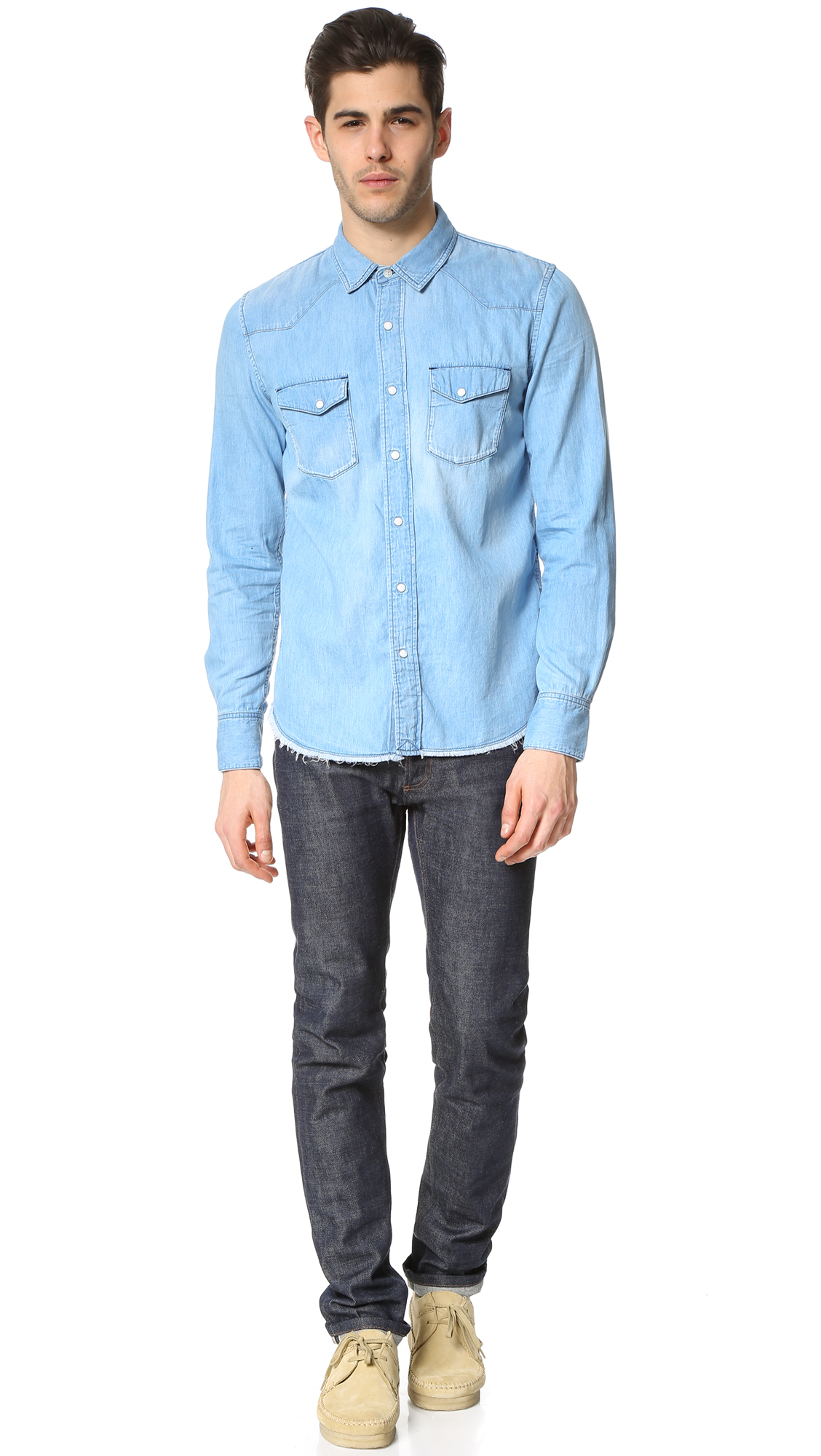 Ones stroke fringe western shirt in pink for men lyst for Mens shirt with tassels