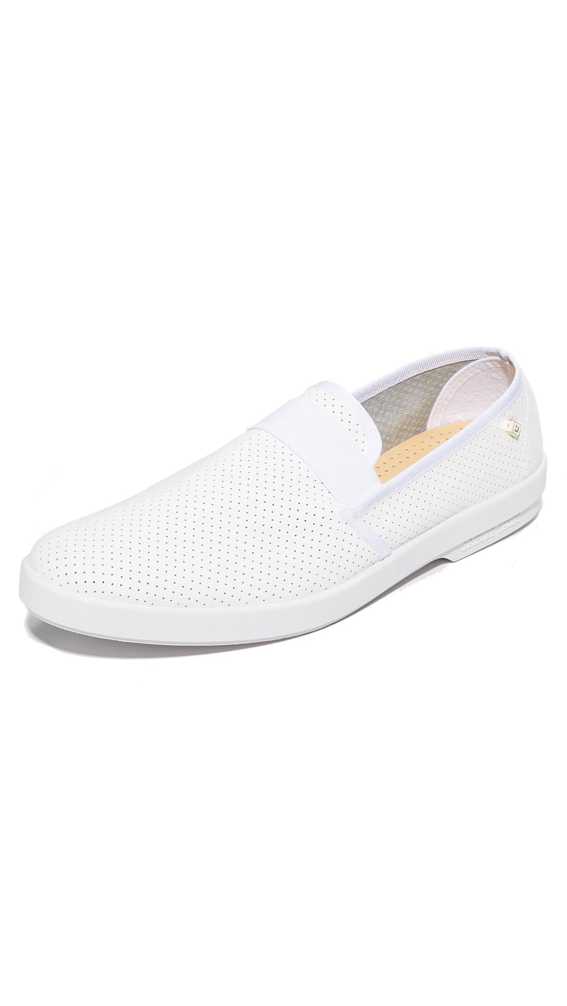 rivieras basket 30 perforated leather slip ons in white for men lyst. Black Bedroom Furniture Sets. Home Design Ideas