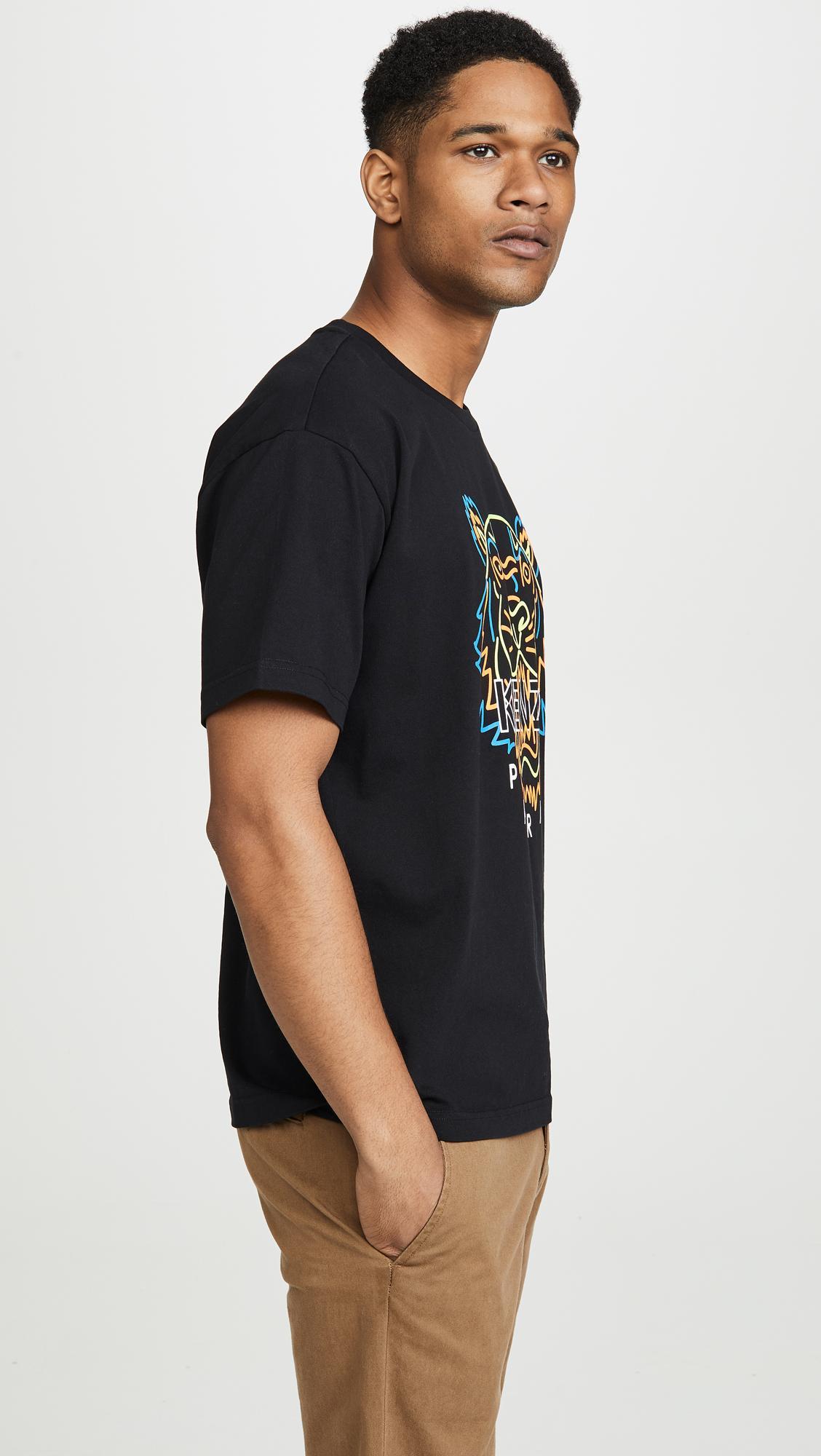 0b6f7fd8 KENZO - Black Neon Tiger T-shirt for Men - Lyst. View fullscreen