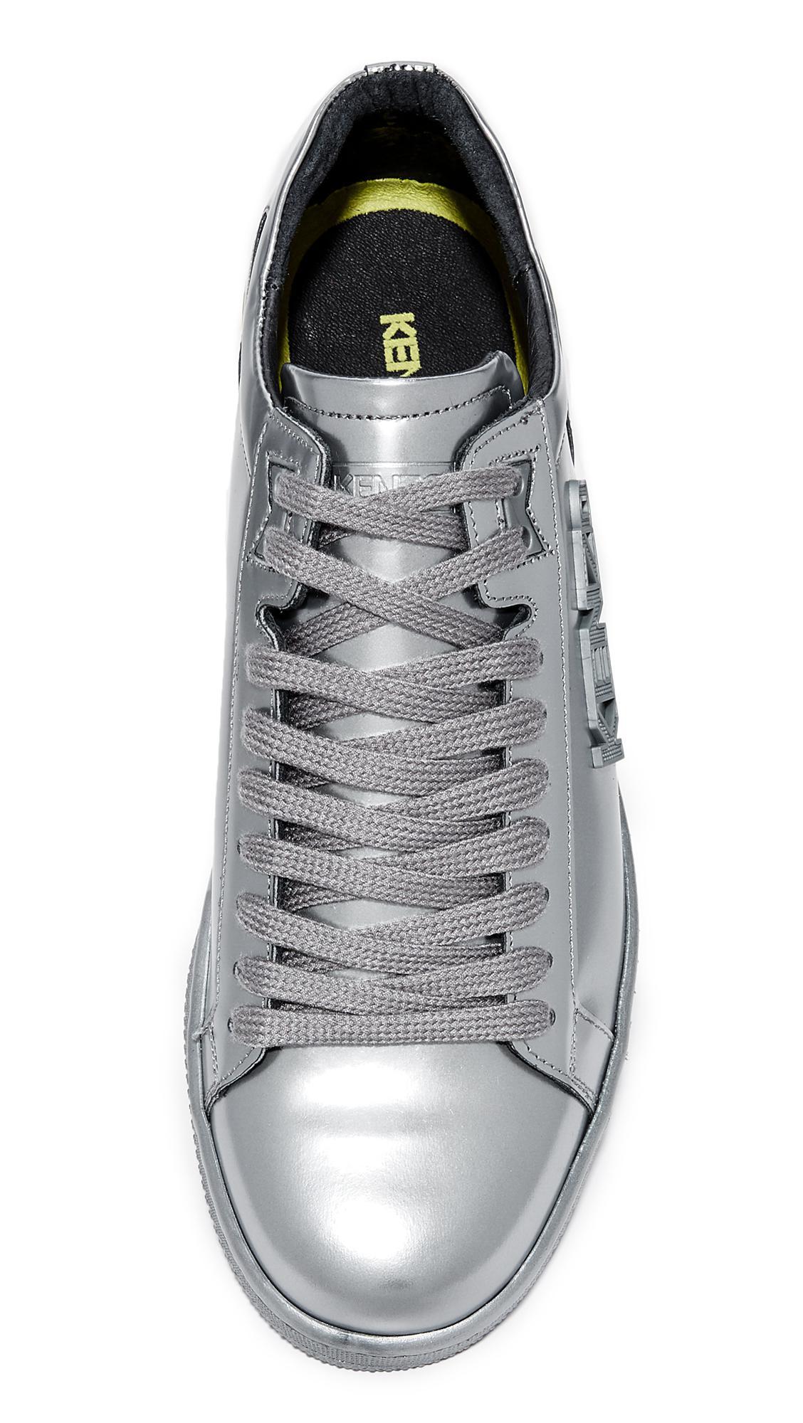 f8b9e313d7 Lyst - KENZO Tennix Metallic Lace Up Sneakers in Metallic for Men