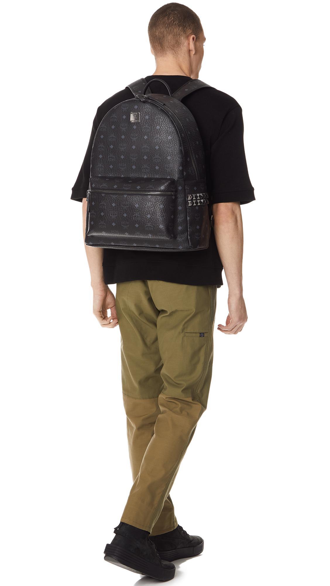 e7e75cb20116 MCM - Black Stark Large Side Stud Backpack for Men - Lyst. View fullscreen