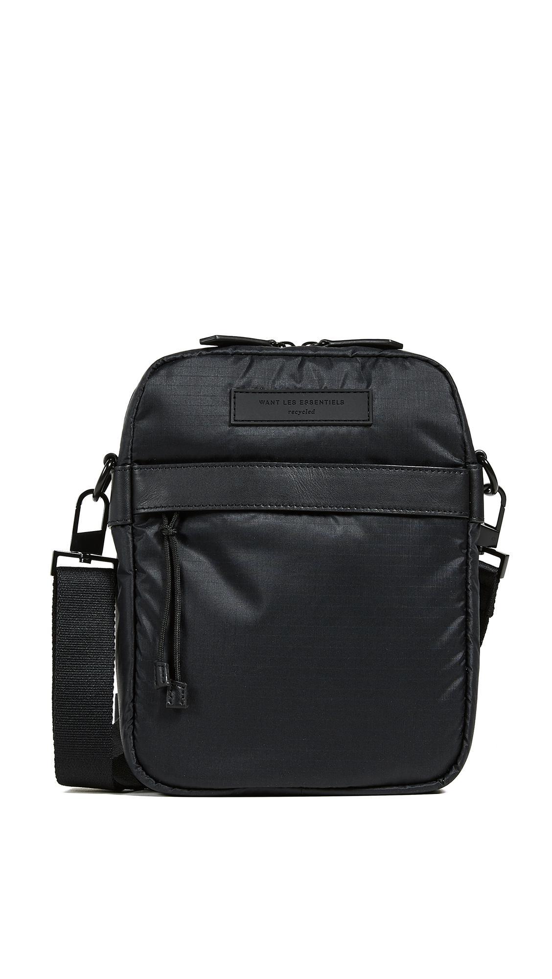 d7ec0964558b Want Les Essentiels De La Vie. Men s Black Bryce Cross Body Messenger Bag