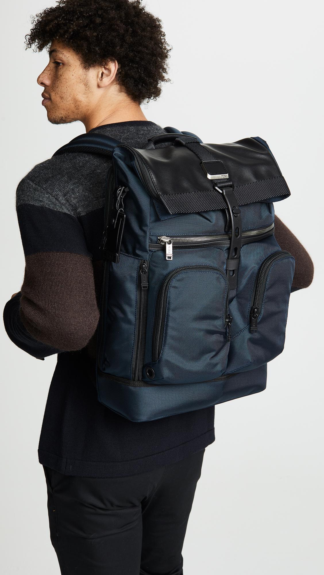 e6ef5ed15b29 Tumi - Blue Alpha Bravo London Roll Top Backpack for Men - Lyst. View  fullscreen