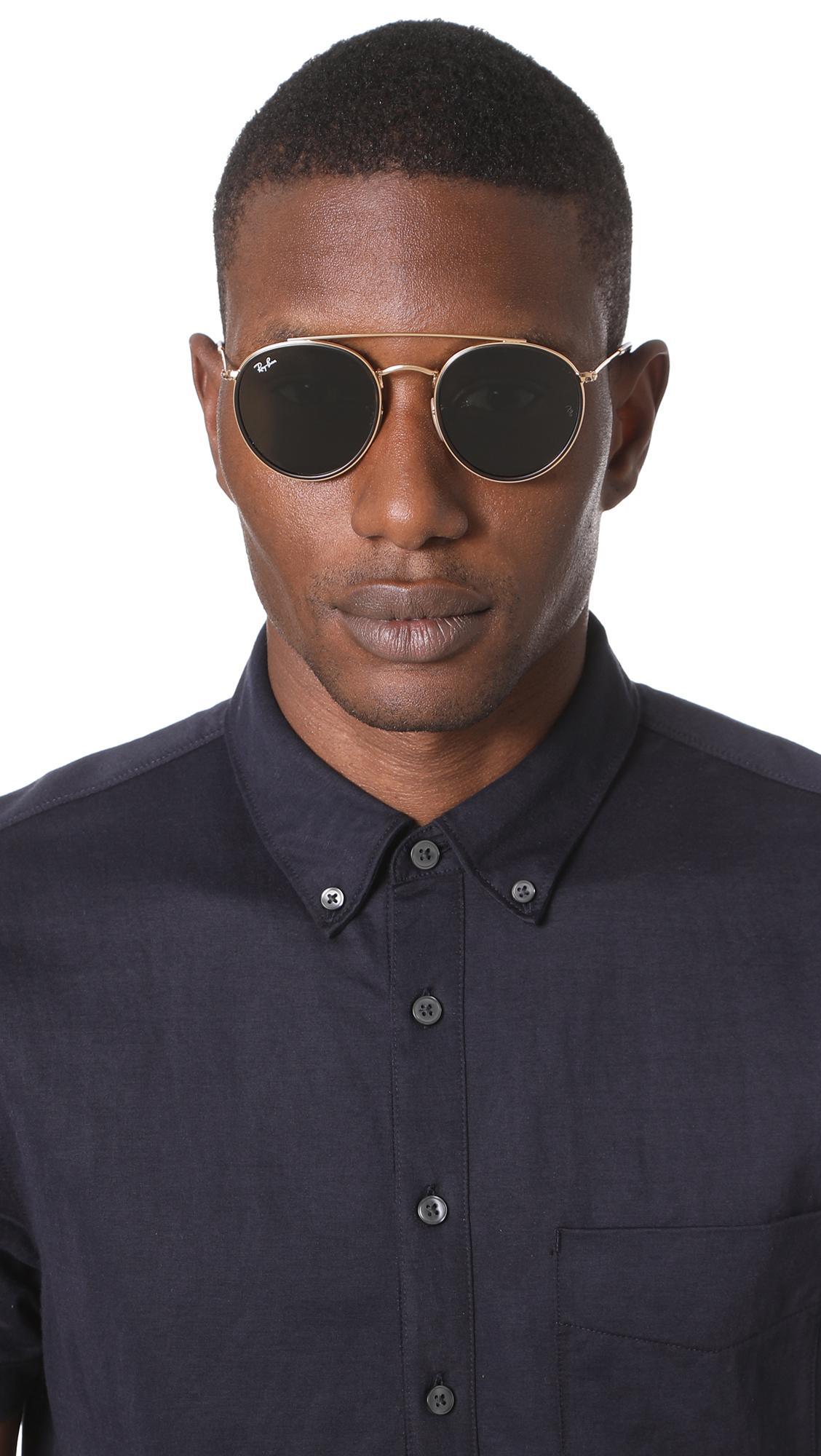 b77f727cc3 Lyst - Ray-Ban Double Bridge Round Sunglasses in Green for Men