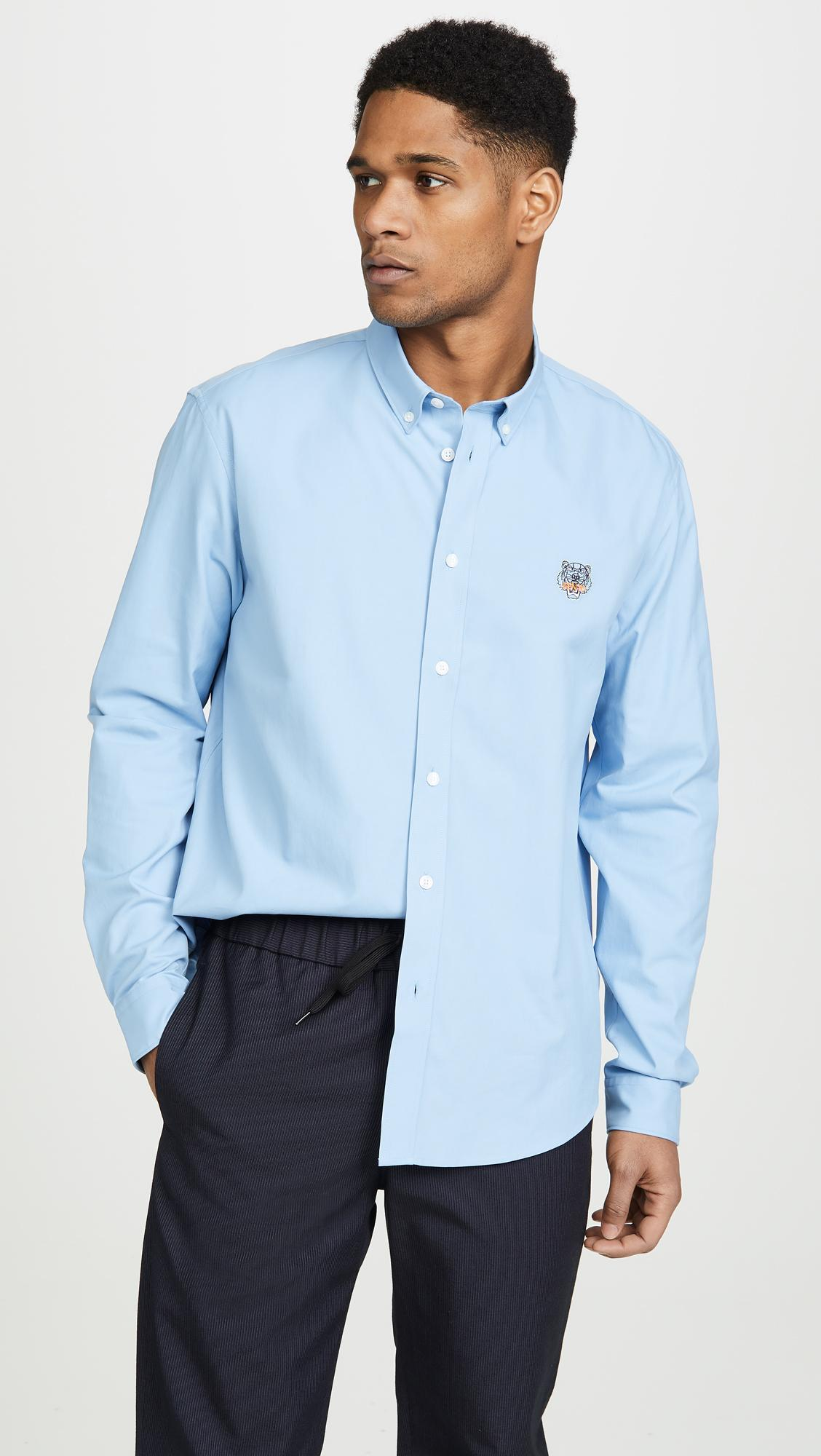 6609b7c8e Lyst - KENZO Tiger Crest Casual Fit Shirt in Blue for Men