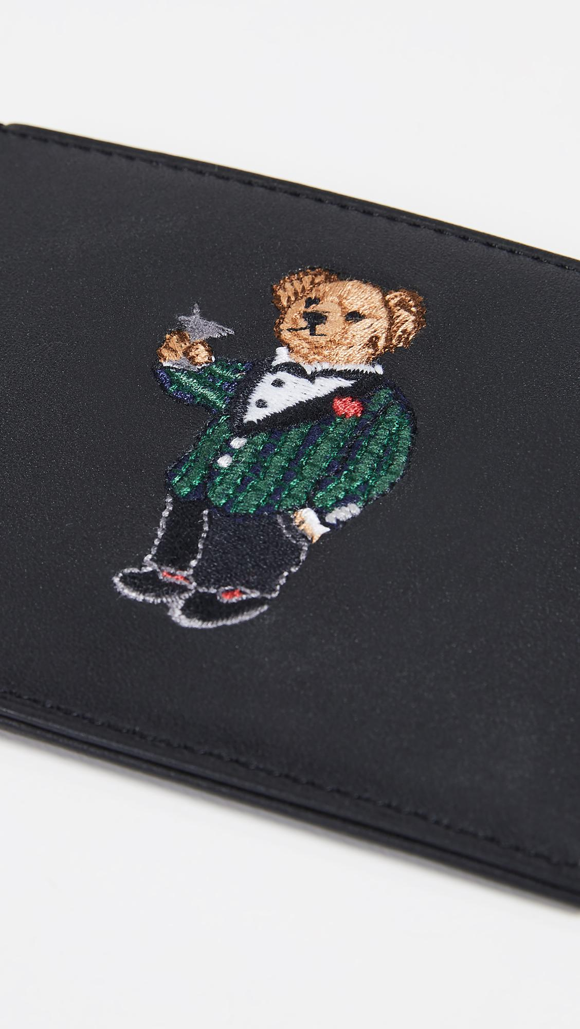 Polo Ralph Lauren Polo Bear Leather Card Case in Black for Men - Lyst 2802572505e5a