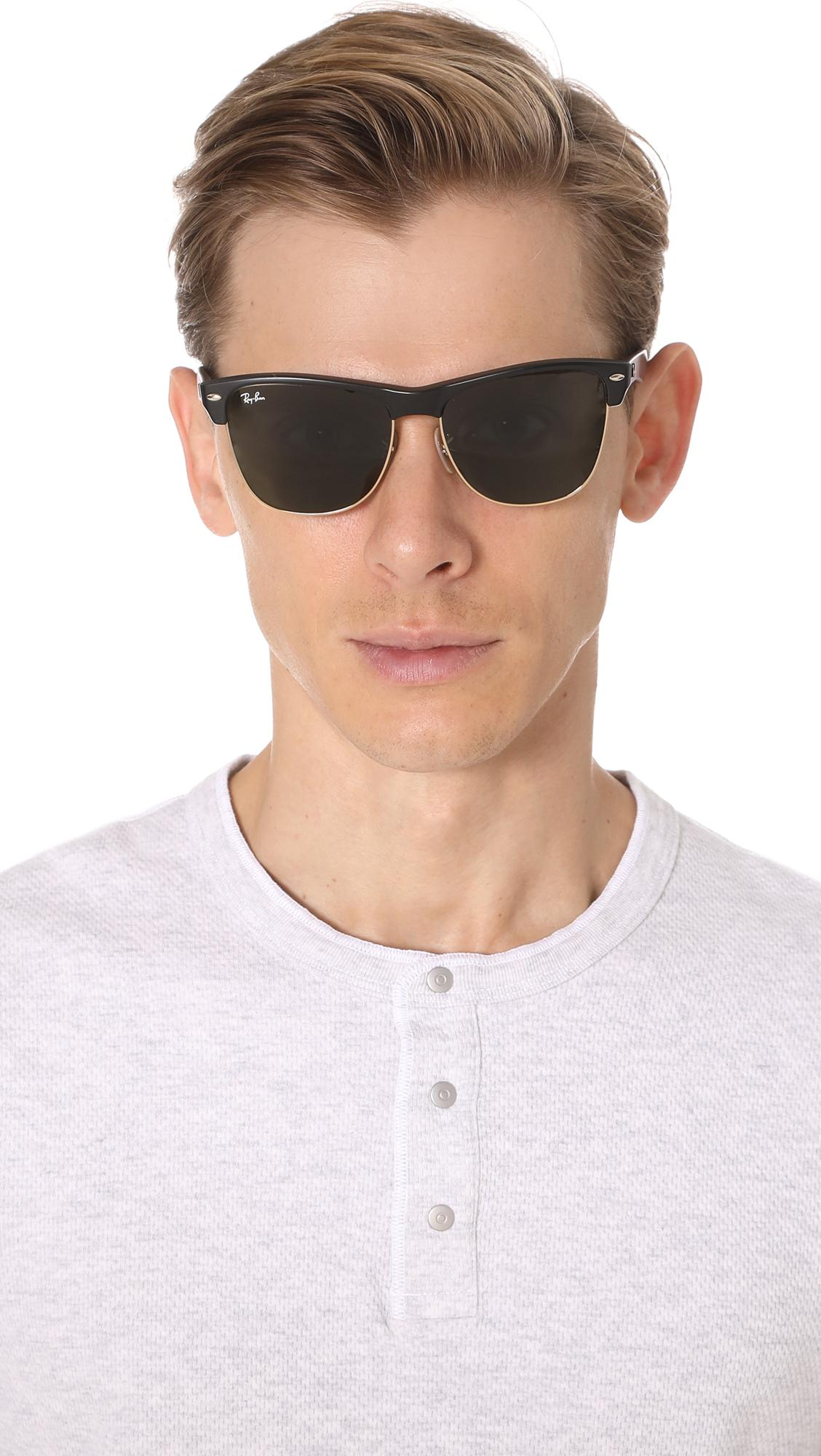 4b97704724a Ray-Ban - Black Clubmaster Oversized Sunglasses for Men - Lyst. View  fullscreen