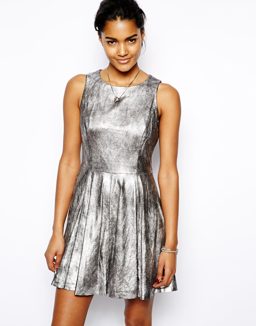 Lyst - Muubaa Ceylon Leather Skater Dress in Metallic 101a939c4