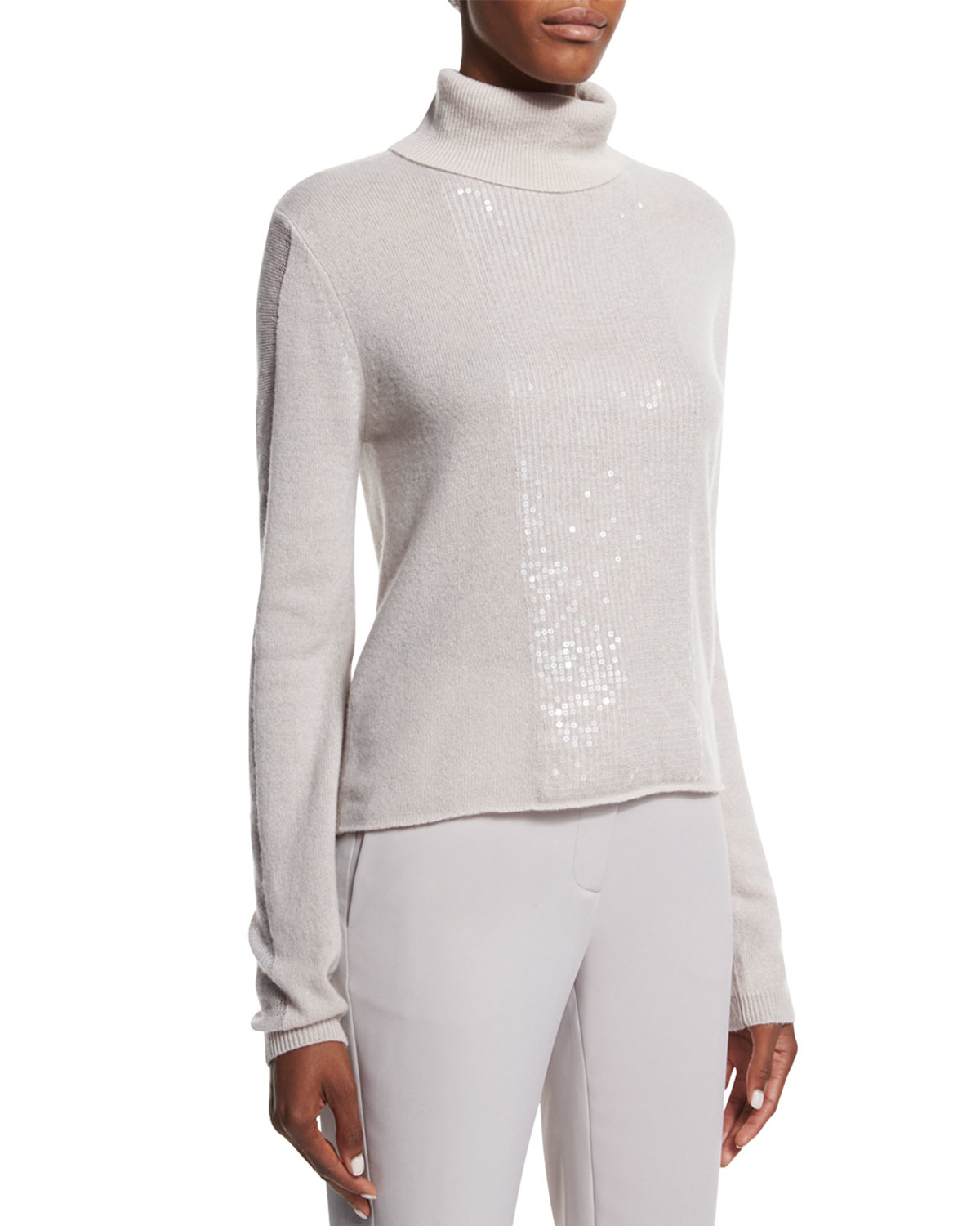783a8690b2b Halston Cashmere Turtleneck Sweater W  Back Cutout in Natural - Lyst