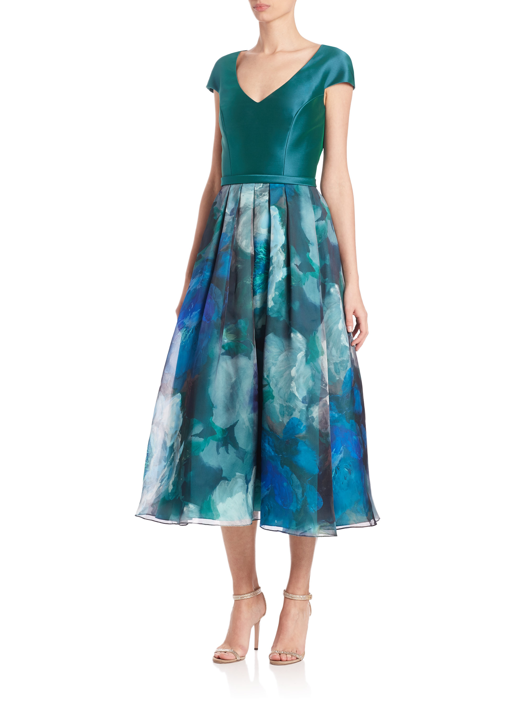 Theia Floral Print Silk Tea Length Dress In Blue Lyst
