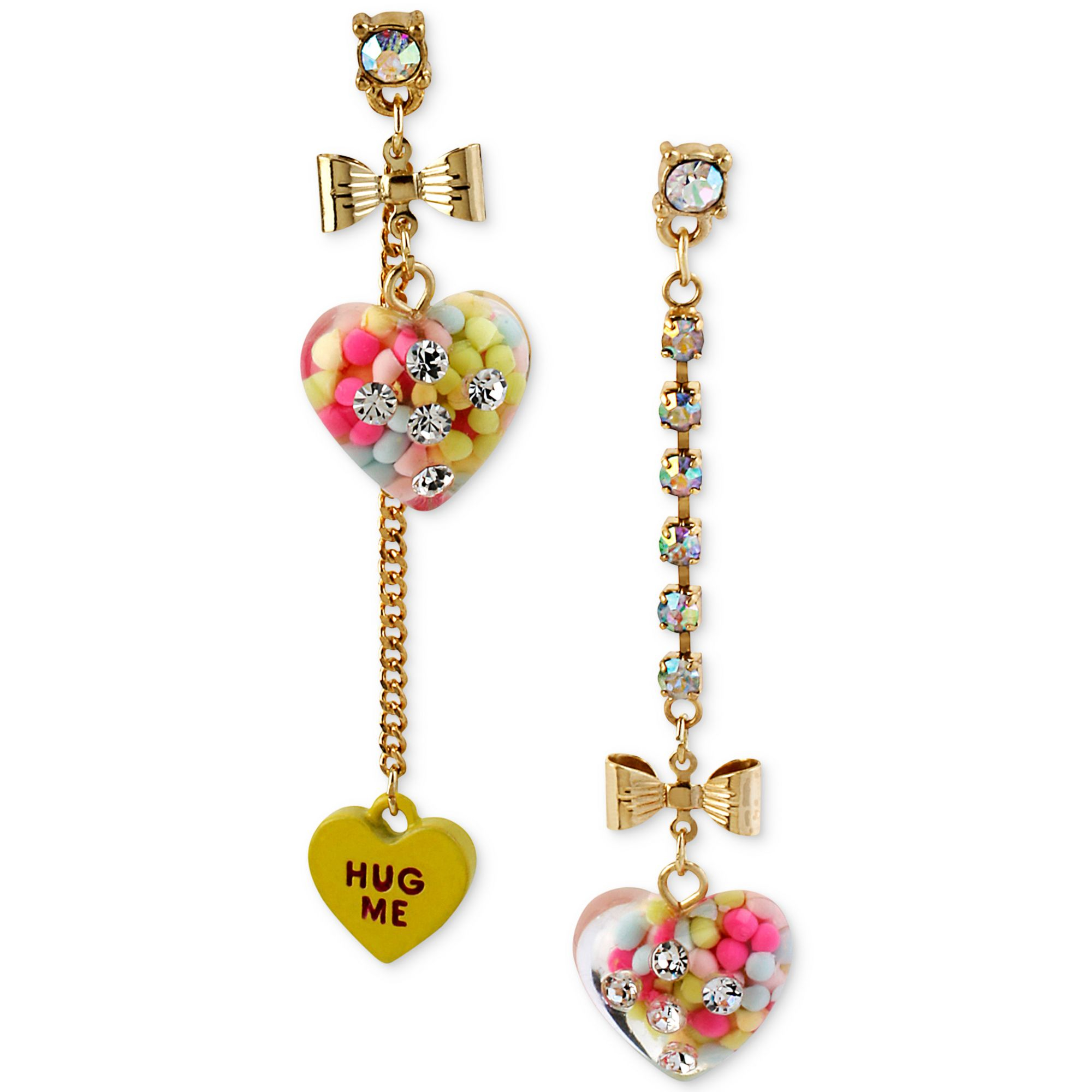 Betsey Johnson Candy Filled Heart Mismatch Earrings In Metallic Lyst