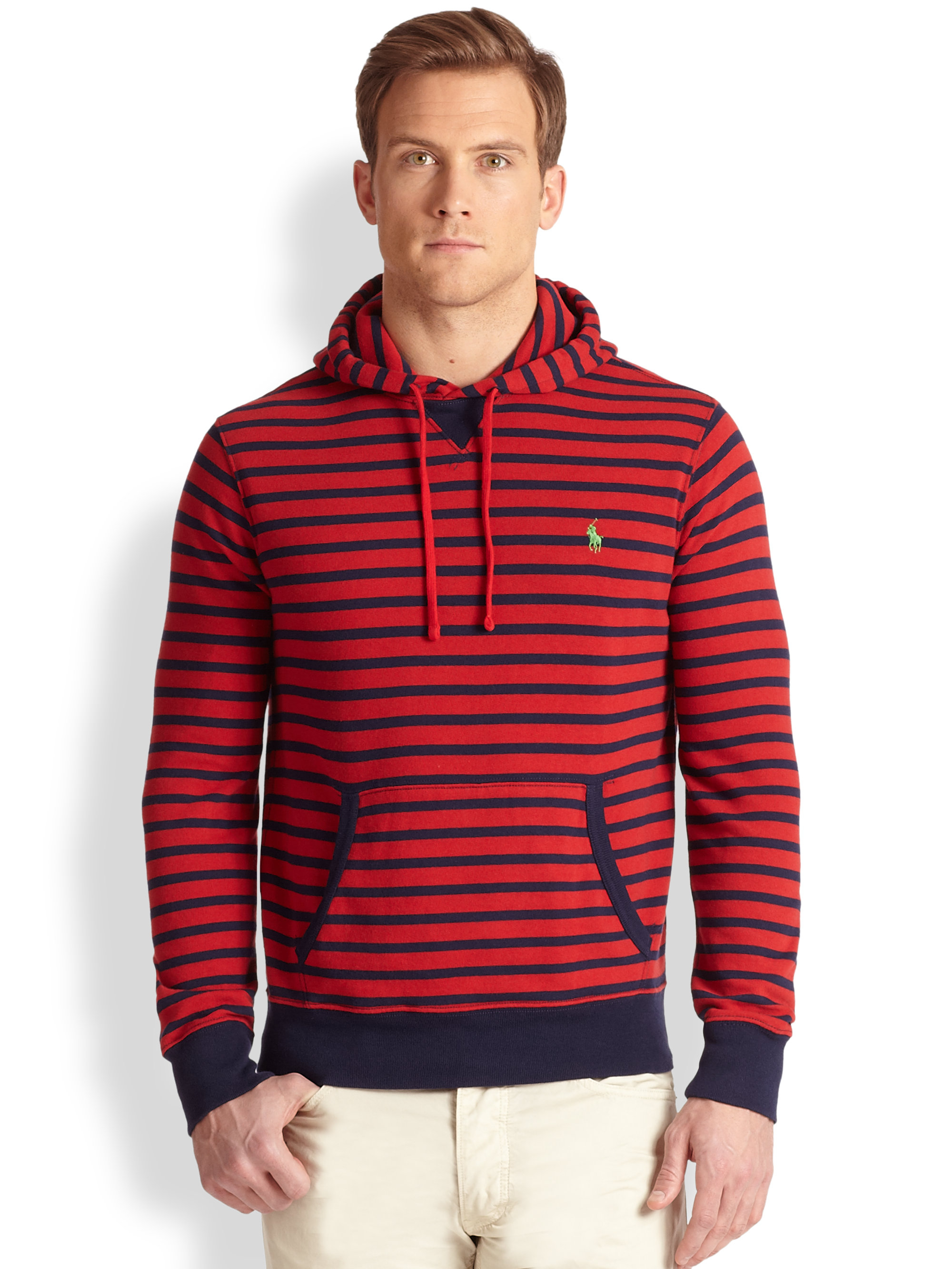 lyst polo ralph lauren striped terry pullover hoodie in. Black Bedroom Furniture Sets. Home Design Ideas