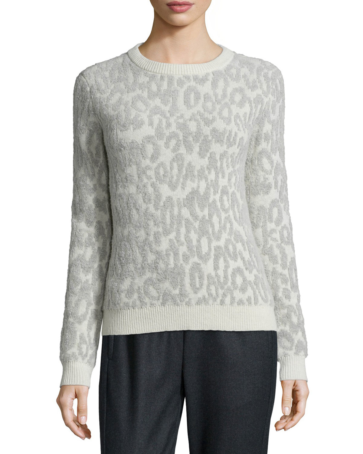Theory Salomay Leopard-print Knit Sweater | Lyst