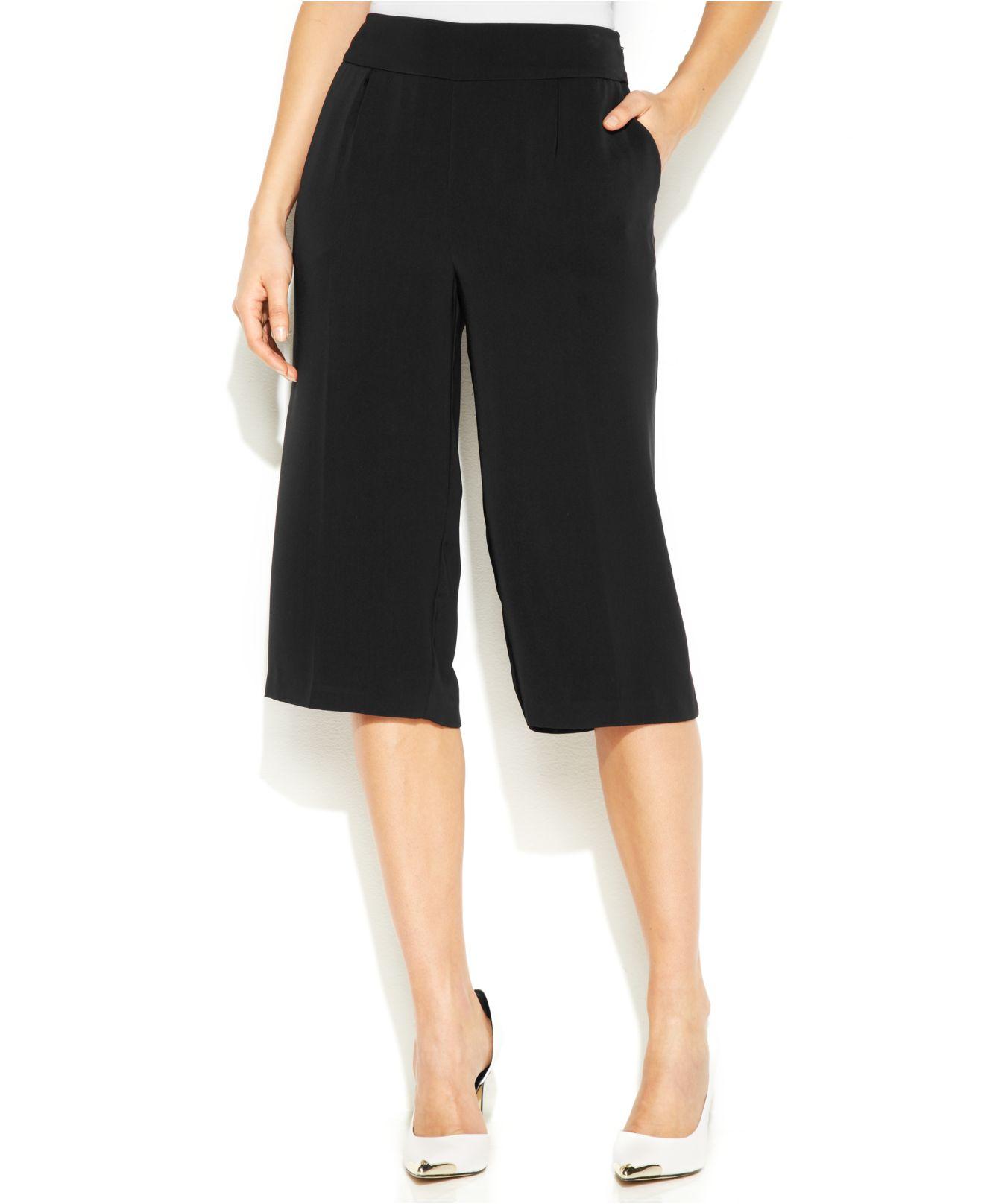 Dkny Wide-Leg Cropped Gaucho Pants in Black | Lyst