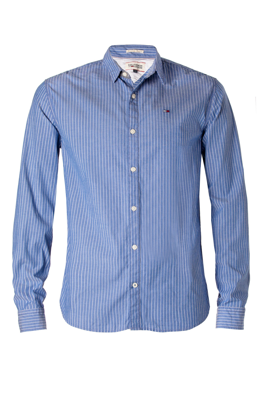 Tommy hilfiger thomas stretch stripe shirt in blue for men for Tommy hilfiger fitzgerald striped shirt