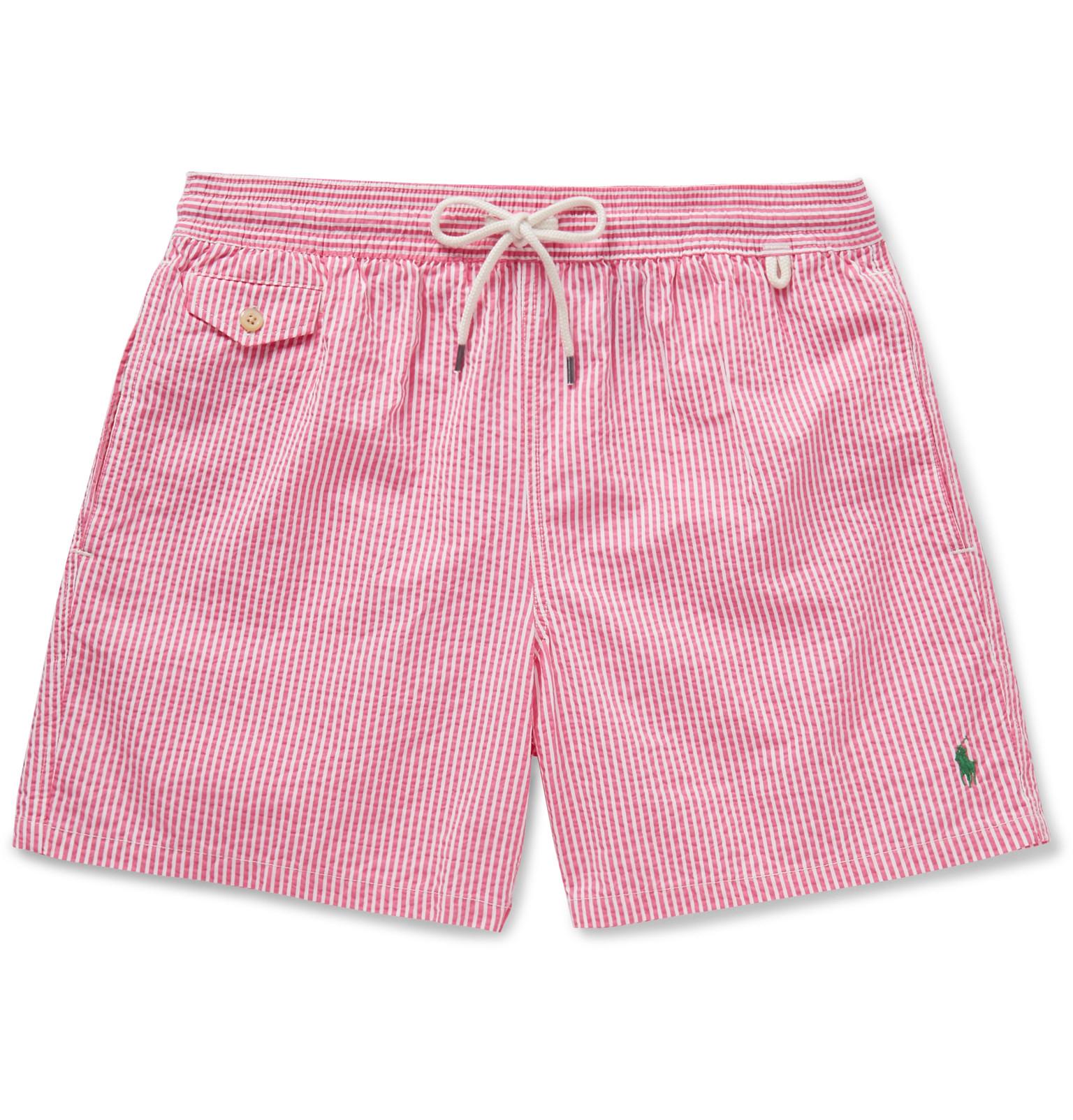 b0cee25906 ... closeout polo ralph lauren traveler striped seersucker swim shorts in  pink d17d8 ed35c ...