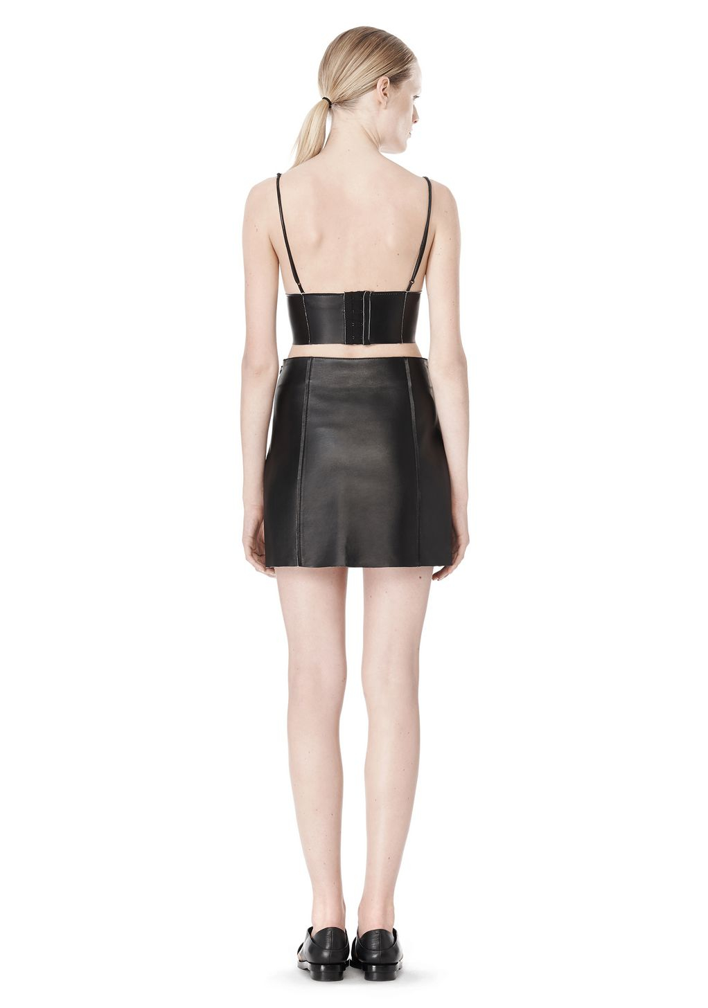 66271cd964033 Lyst - Alexander Wang Raw Edge Triangle Leather Bralette in Black