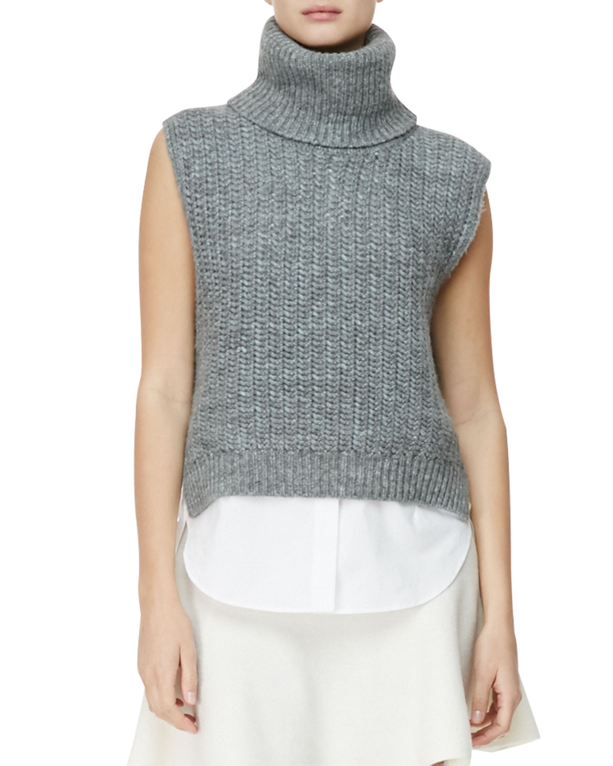 3.1 phillip lim Sleeveless High-Low Turtleneck Sweater in Blue | Lyst