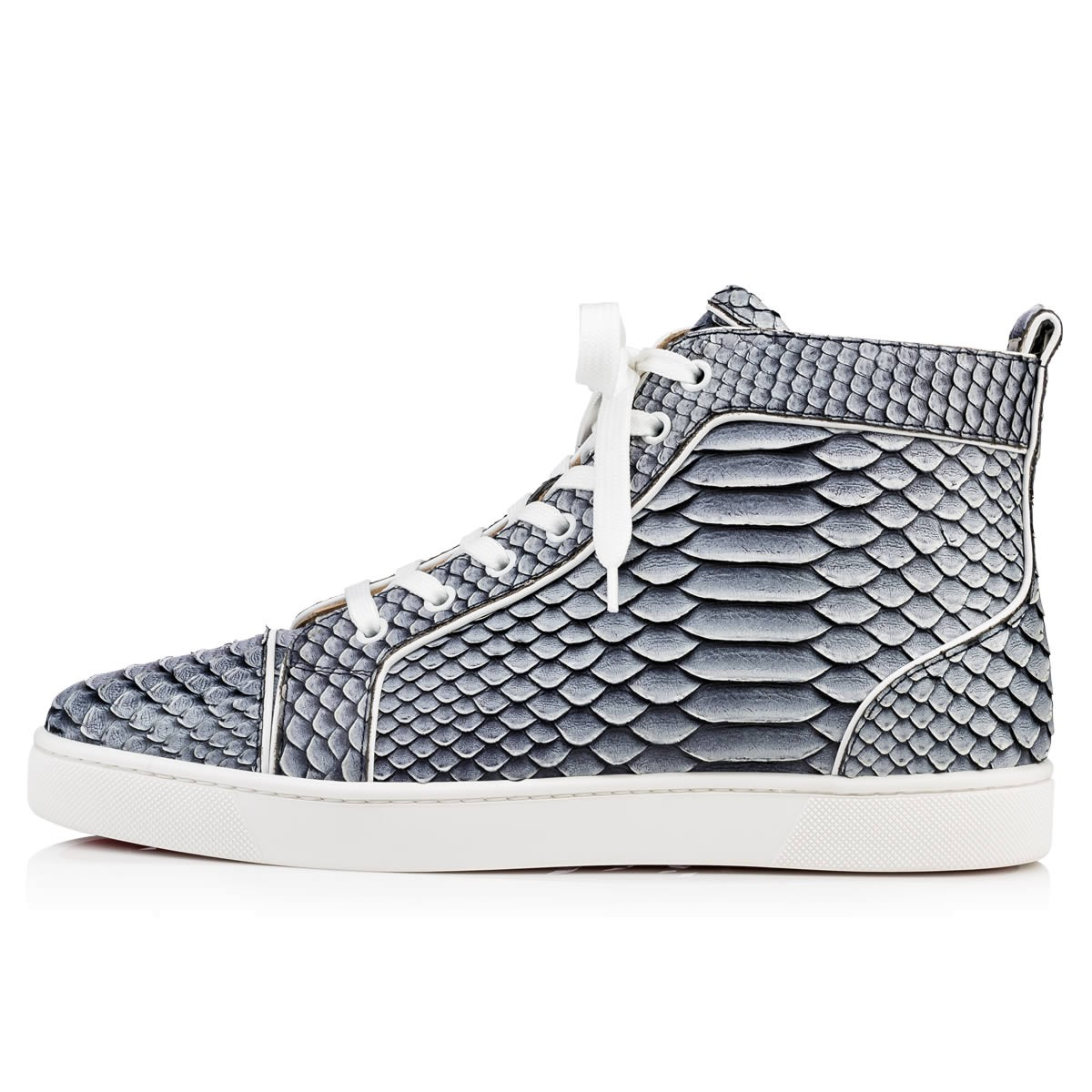 cheap louboutin shoes knockoffs - Christian louboutin Louis Frozen Python High-Top Sneakers in Gray ...