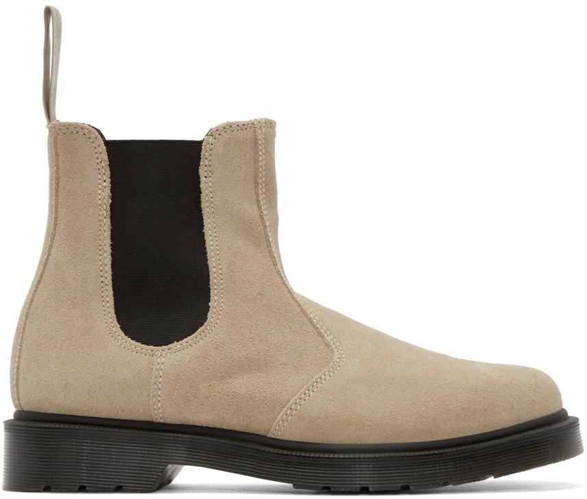 dr martens beige suede chelsea boots in black for men lyst. Black Bedroom Furniture Sets. Home Design Ideas