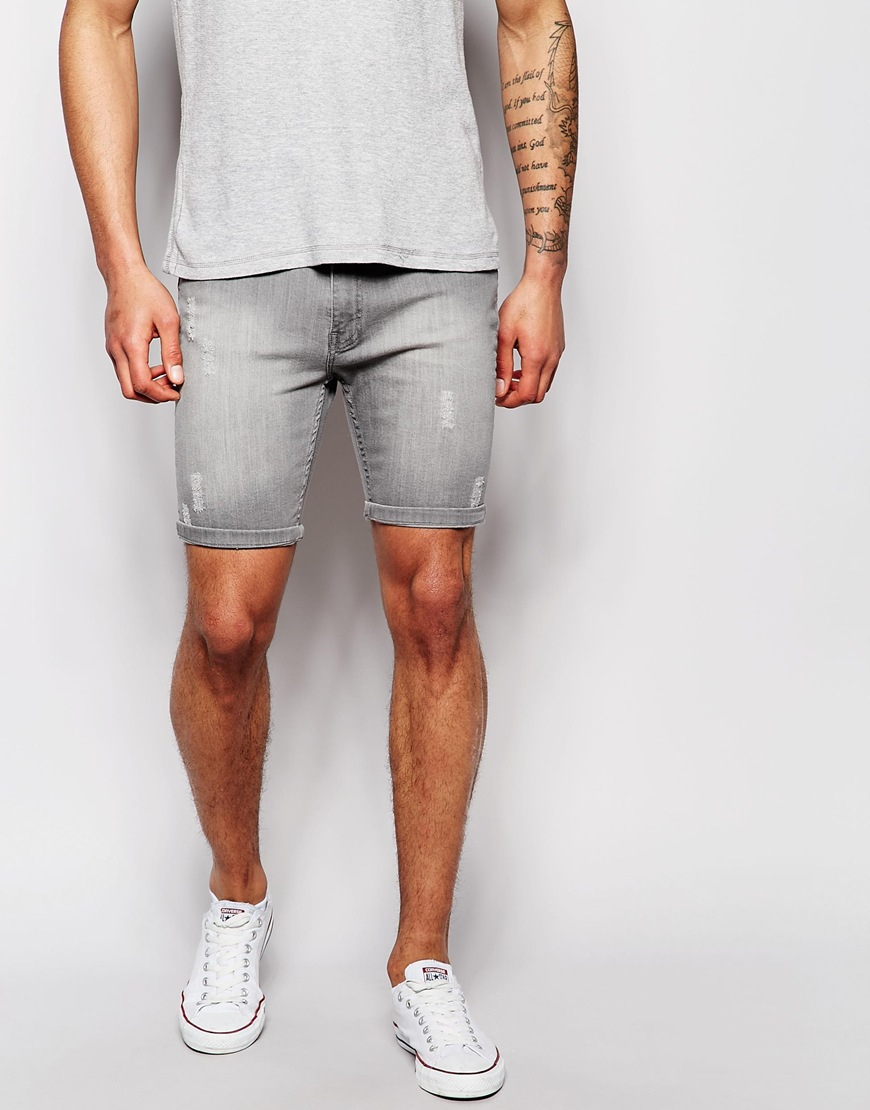 Mens Grey Jean Shorts - The Else