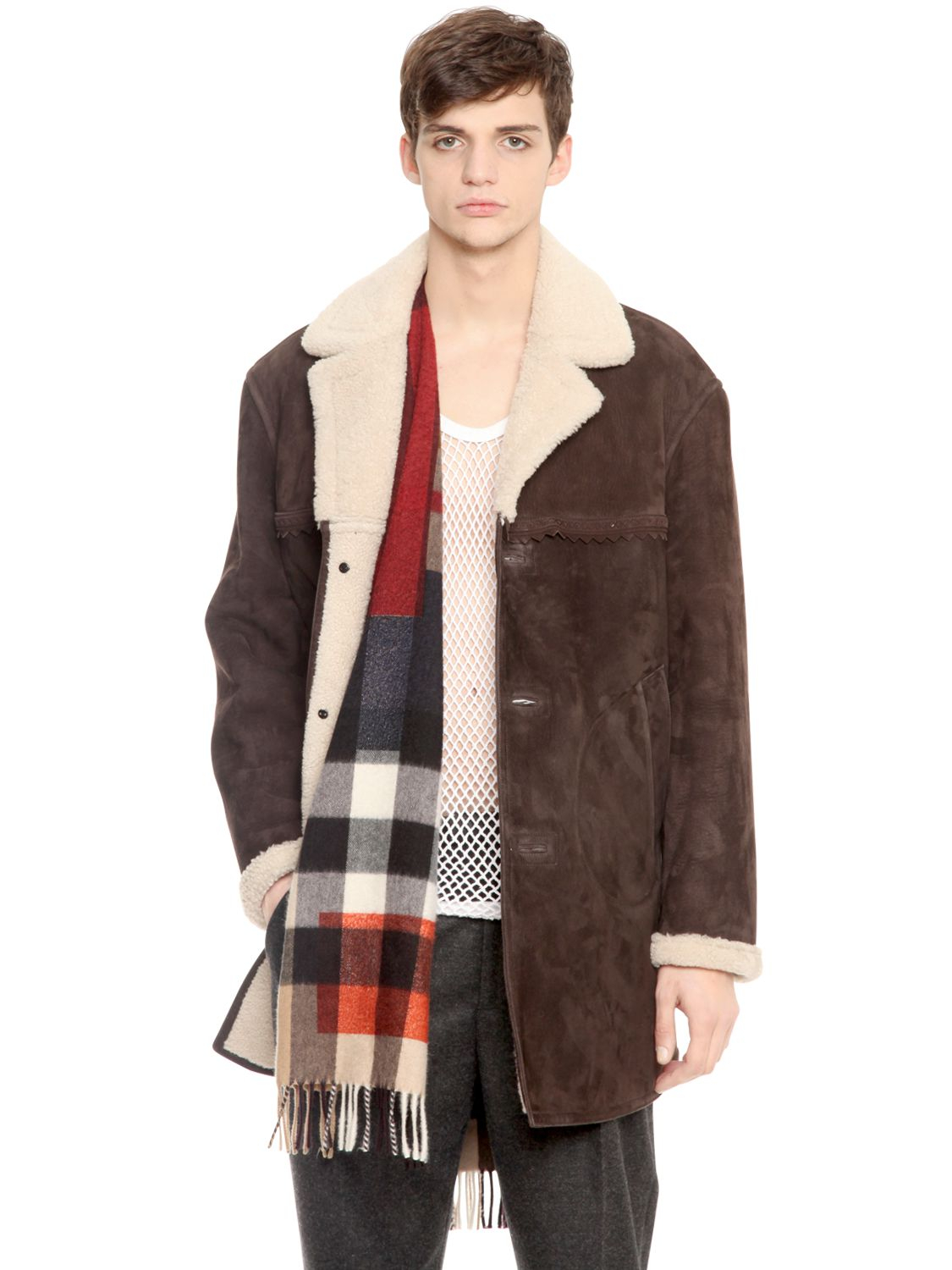 Burberry prorsum Shearling & Suede Coat in Brown for Men | Lyst