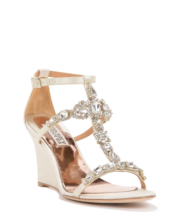 Wedding Wedge: Badgley Mischka Melissa Strappy Wedge Evening Shoe In