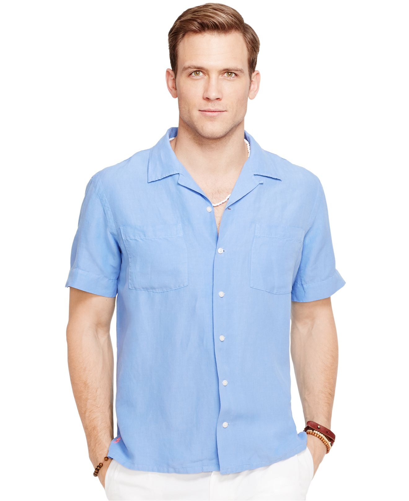 645db204a4ce1 ... release date lyst polo ralph lauren linen silk camp shirt in blue for  men c33a0 c6944