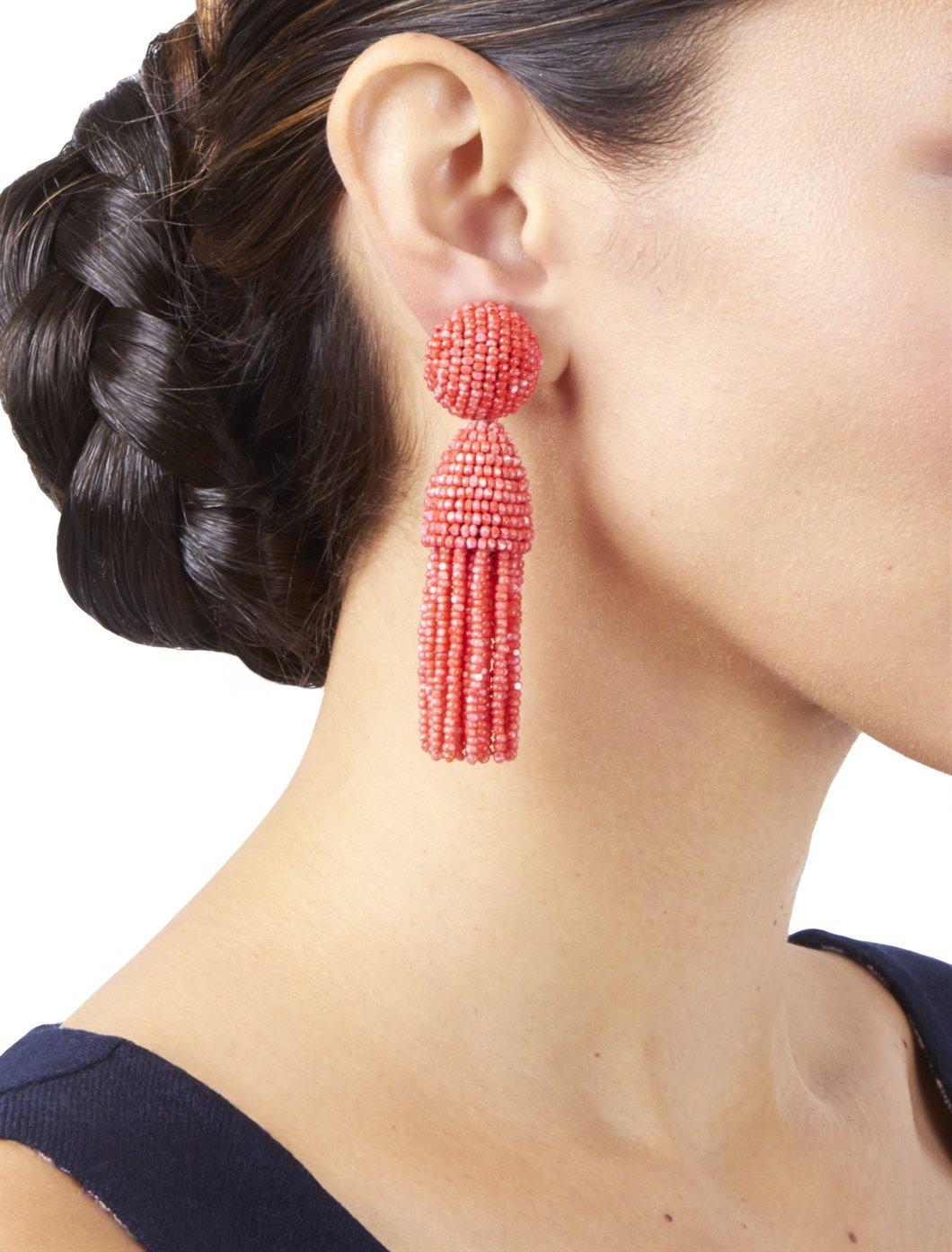 Oscar De La Renta Classic Short Tassel Earring In Red Lyst