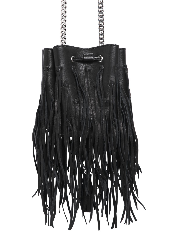 Saint Laurent Ysl Pendant Fringed Leather Bucket Bag In