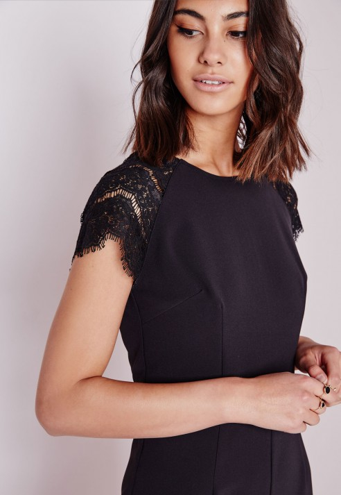 Missguided Lace Cap Sleeve Jumpsuit Black in Black | Lyst
