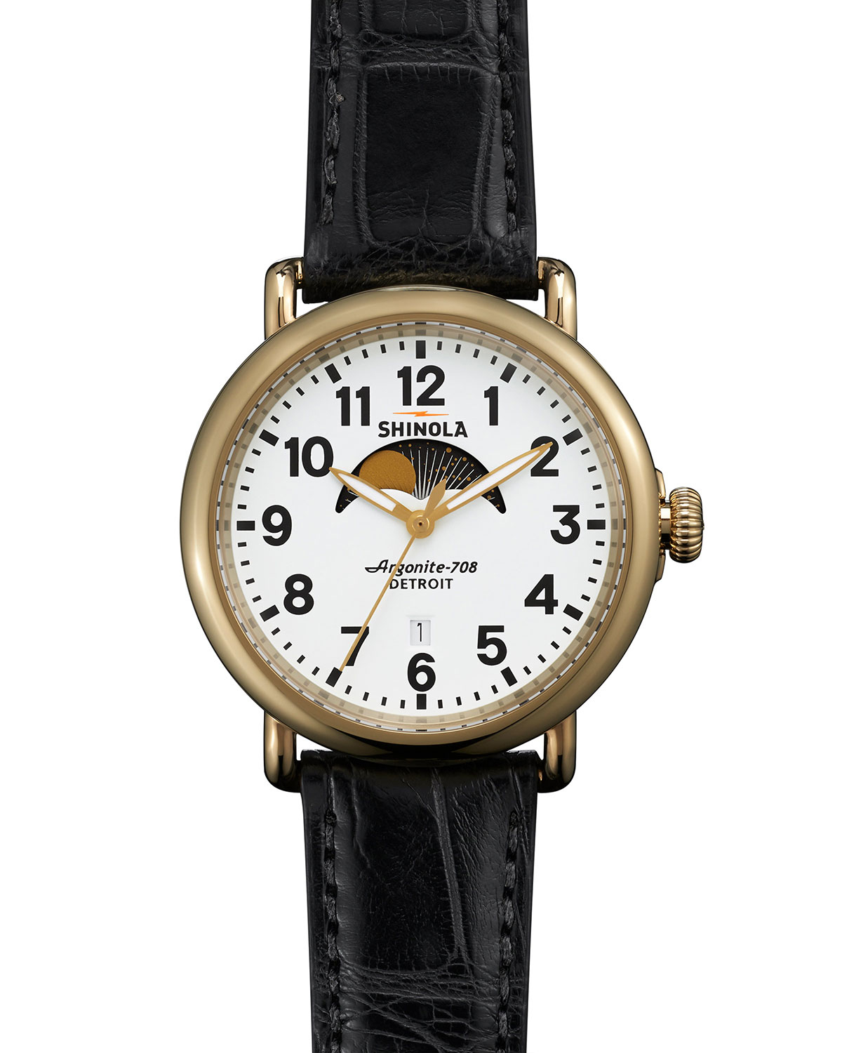 Shinola 41mm runwell moon phase watch in black for men lyst for Shinola watches
